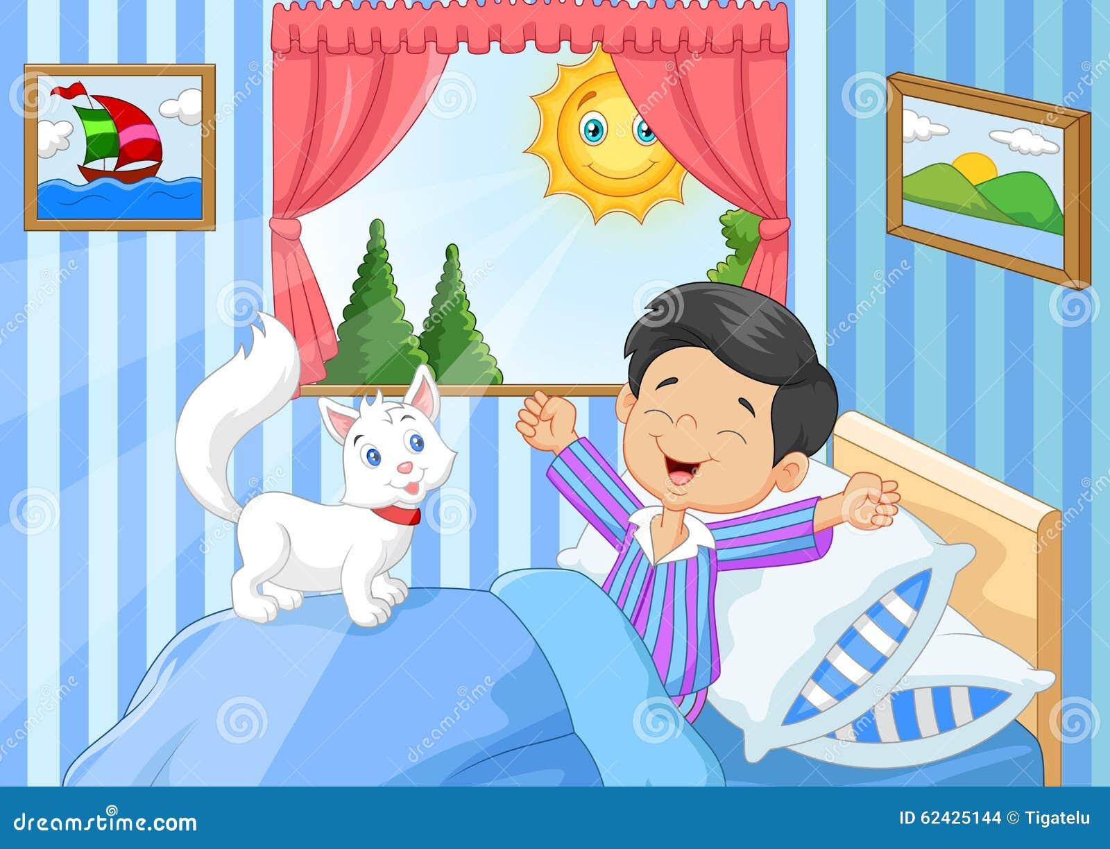 Kleiner aufwachender und gähnender Junge der Karikatur