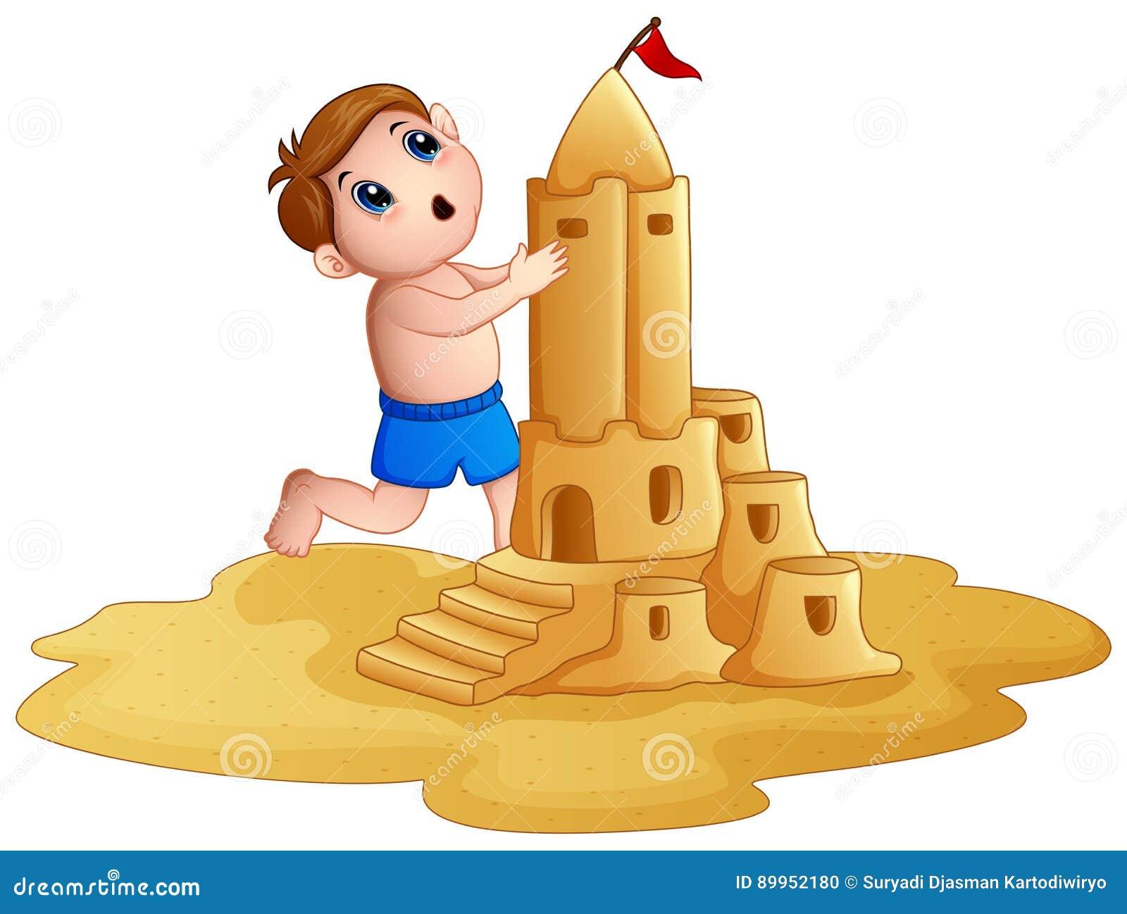 Sandburg malen  Kleiner Junge, Der Ein Großes Sandburg Am Strand Macht Vektor ...