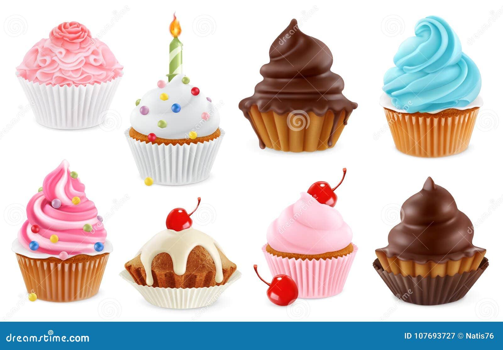 Kleiner Kuchen, feenhafter Kuchen Ikonensatz des Vektors 3d