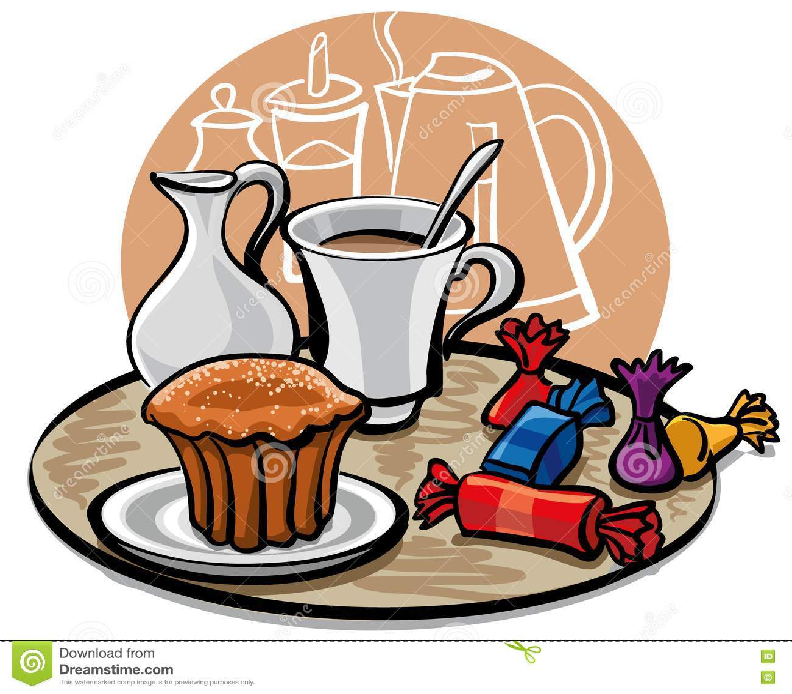 kleiner kuchen s igkeit und kaffee mit milch lizenzfreie stockfotos bild 18882078. Black Bedroom Furniture Sets. Home Design Ideas
