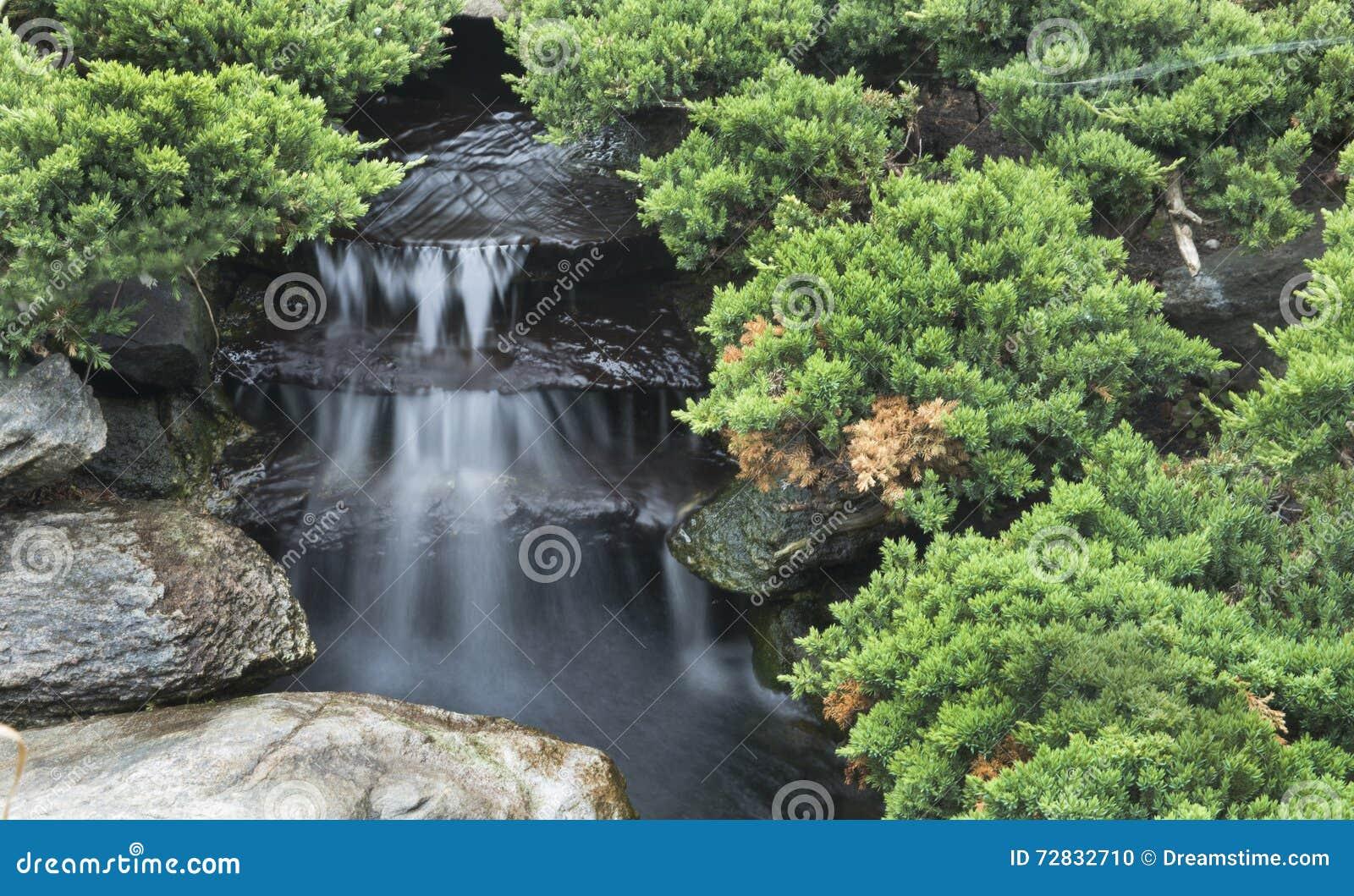 Download Kleiner Wasserfall Im Garten Stockfoto   Bild Von Entspannung,  Felsen: 72832710
