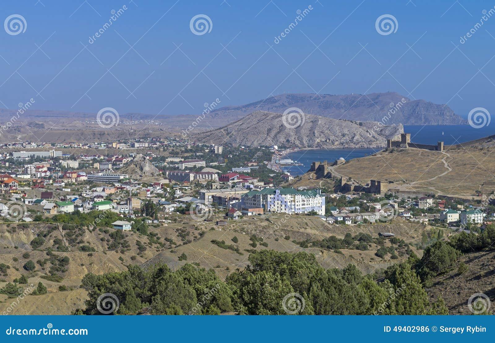 Download Kleines Beliebtes Erholungsort In Krim Stockfoto - Bild von abhang, aufbau: 49402986