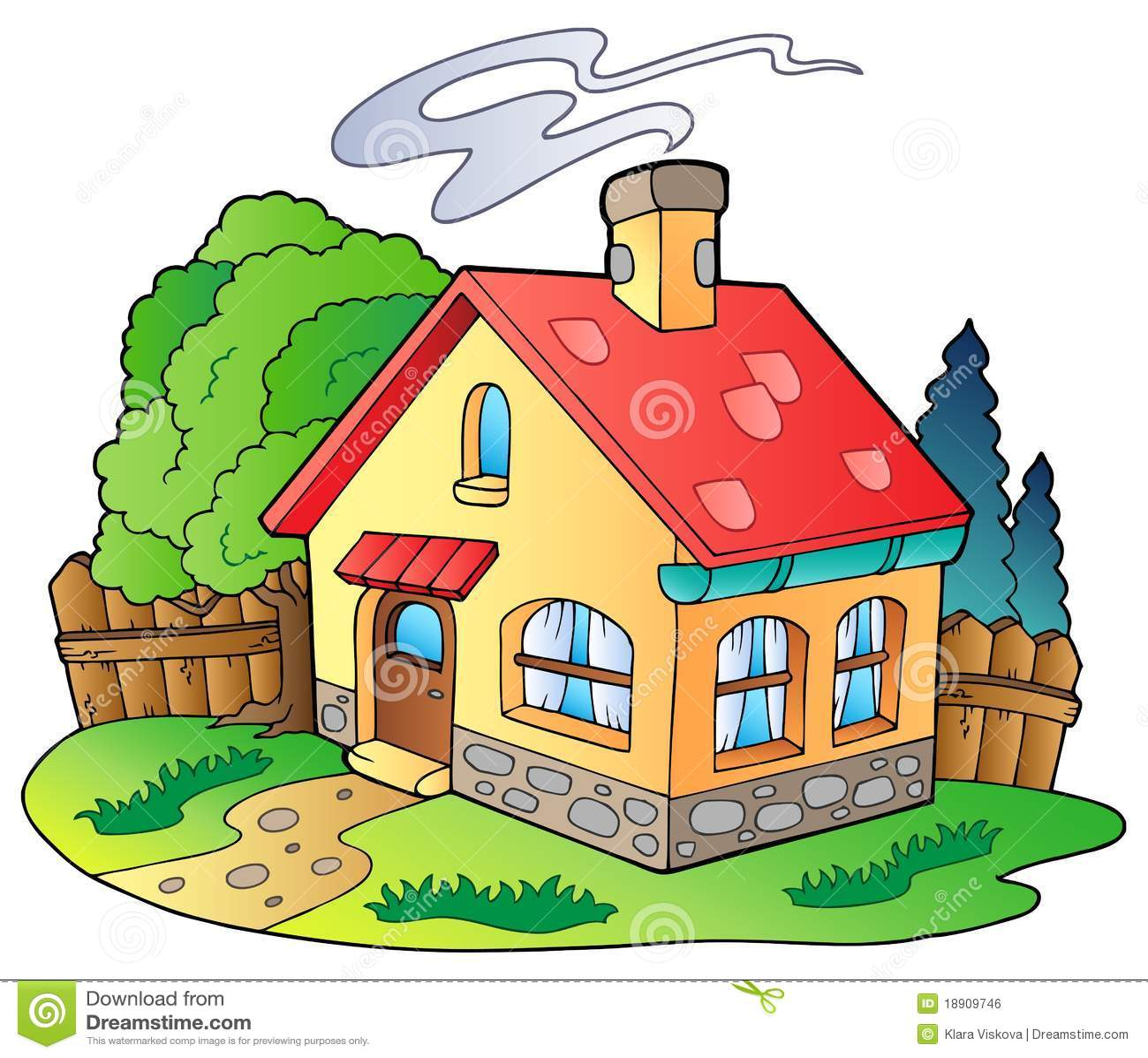 Kleines familienhaus vektor abbildung bild von rasen for Familienhaus