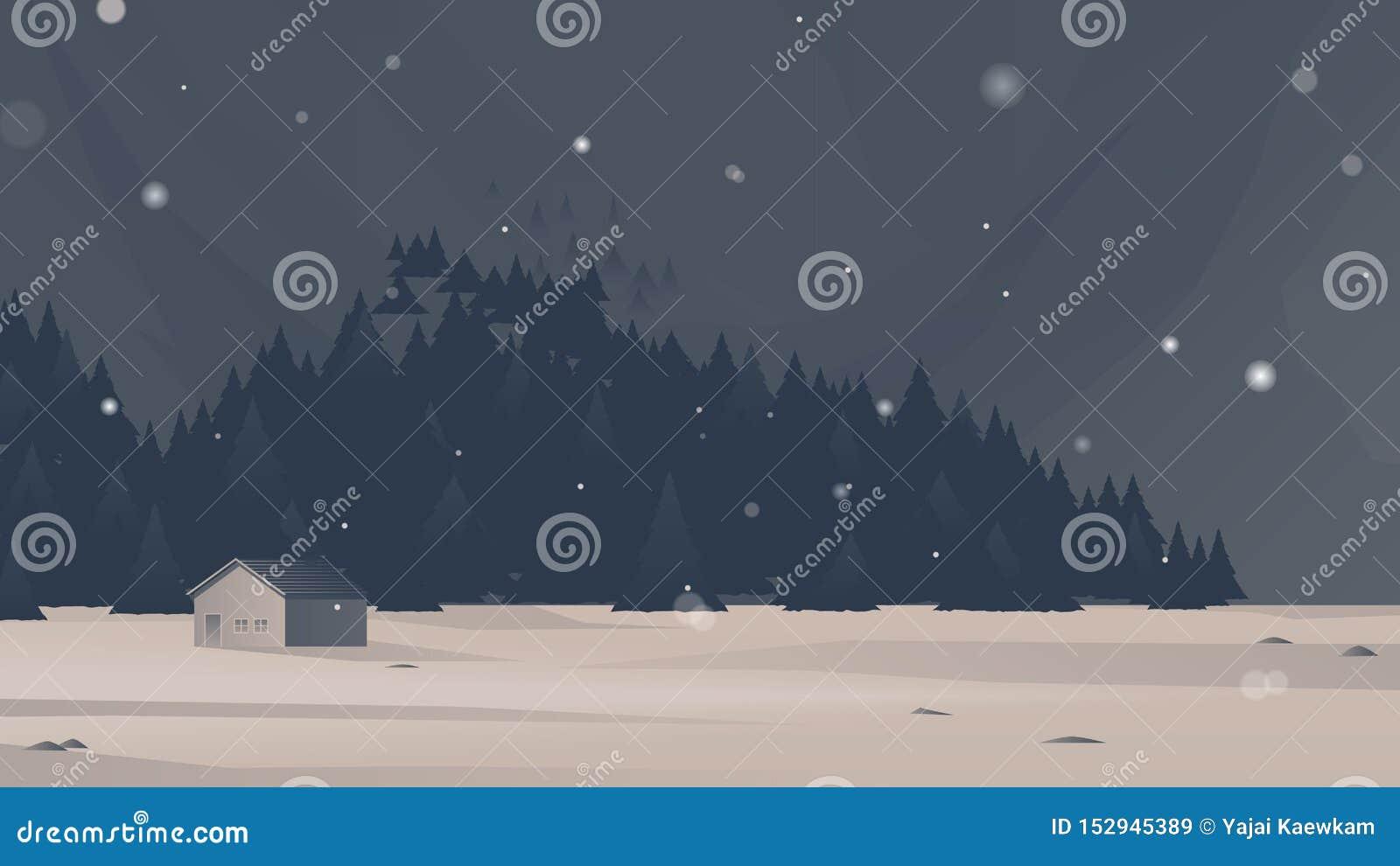 Kleines Haus im Wald mit fallender Schneelandschaft