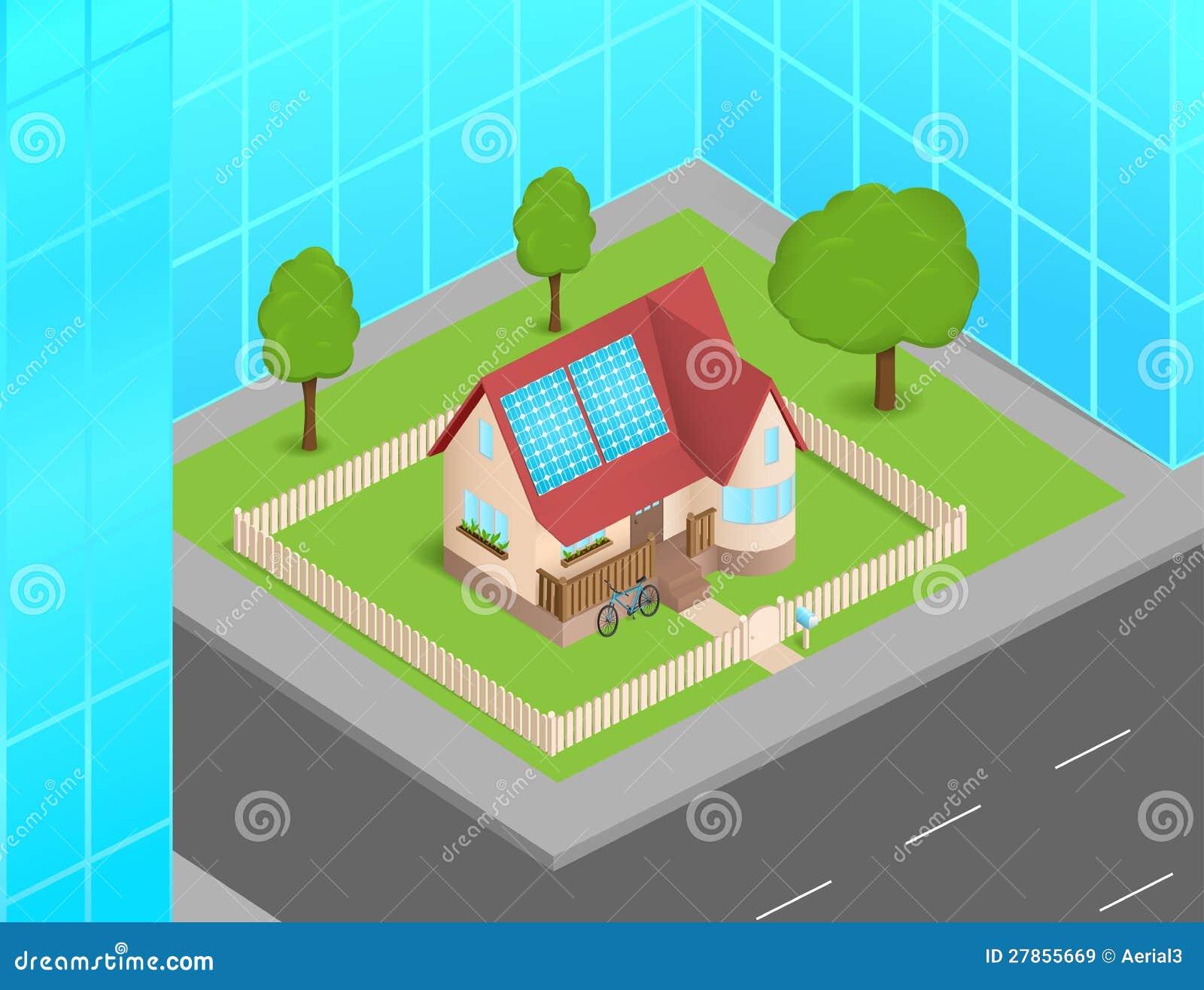kleines haus mit solarzellen zwischen wolkenkratzern vektor abbildung bild 27855669. Black Bedroom Furniture Sets. Home Design Ideas
