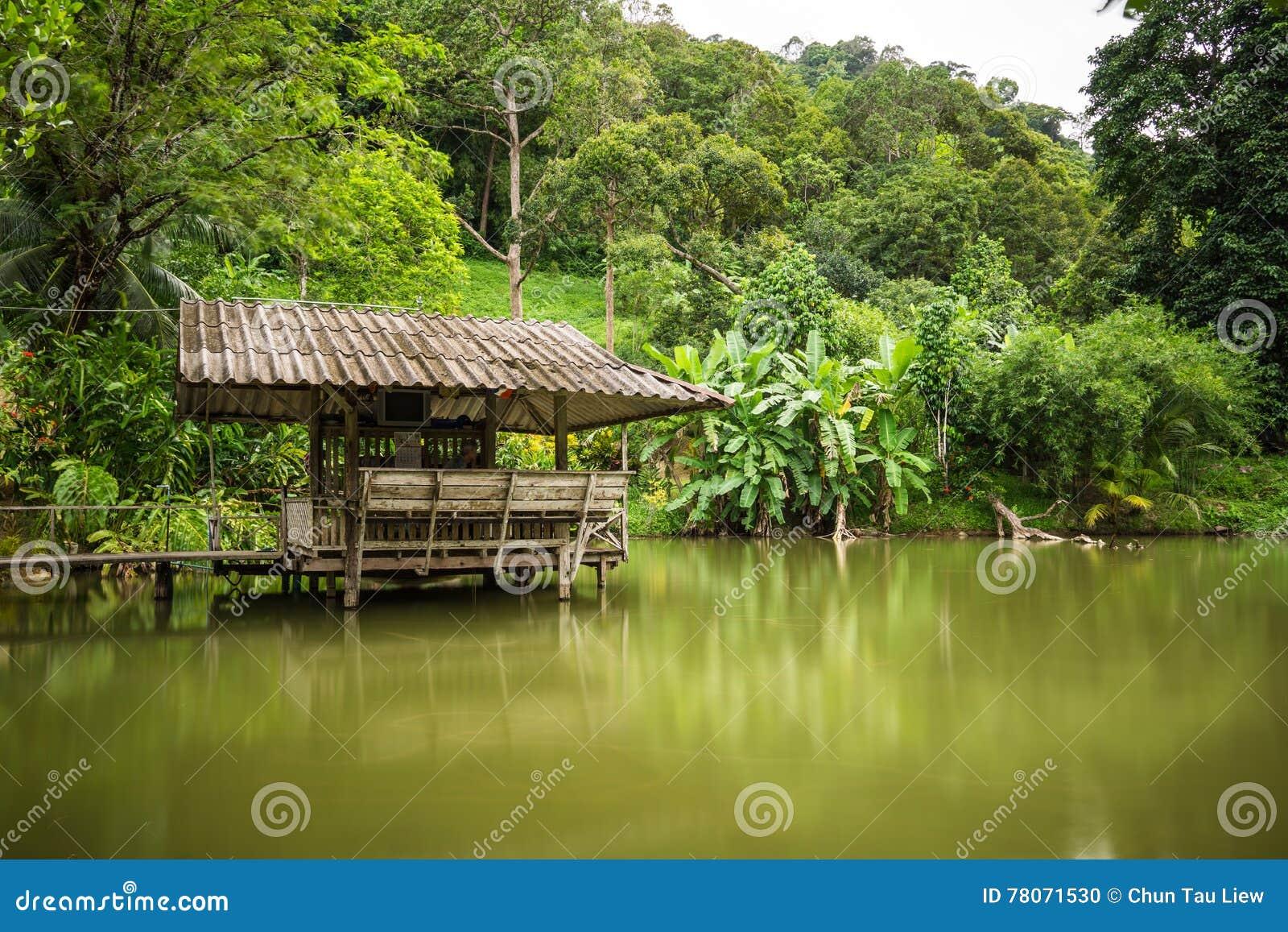 kleines haus am see ufer stockfoto bild von lakeside 78071530. Black Bedroom Furniture Sets. Home Design Ideas