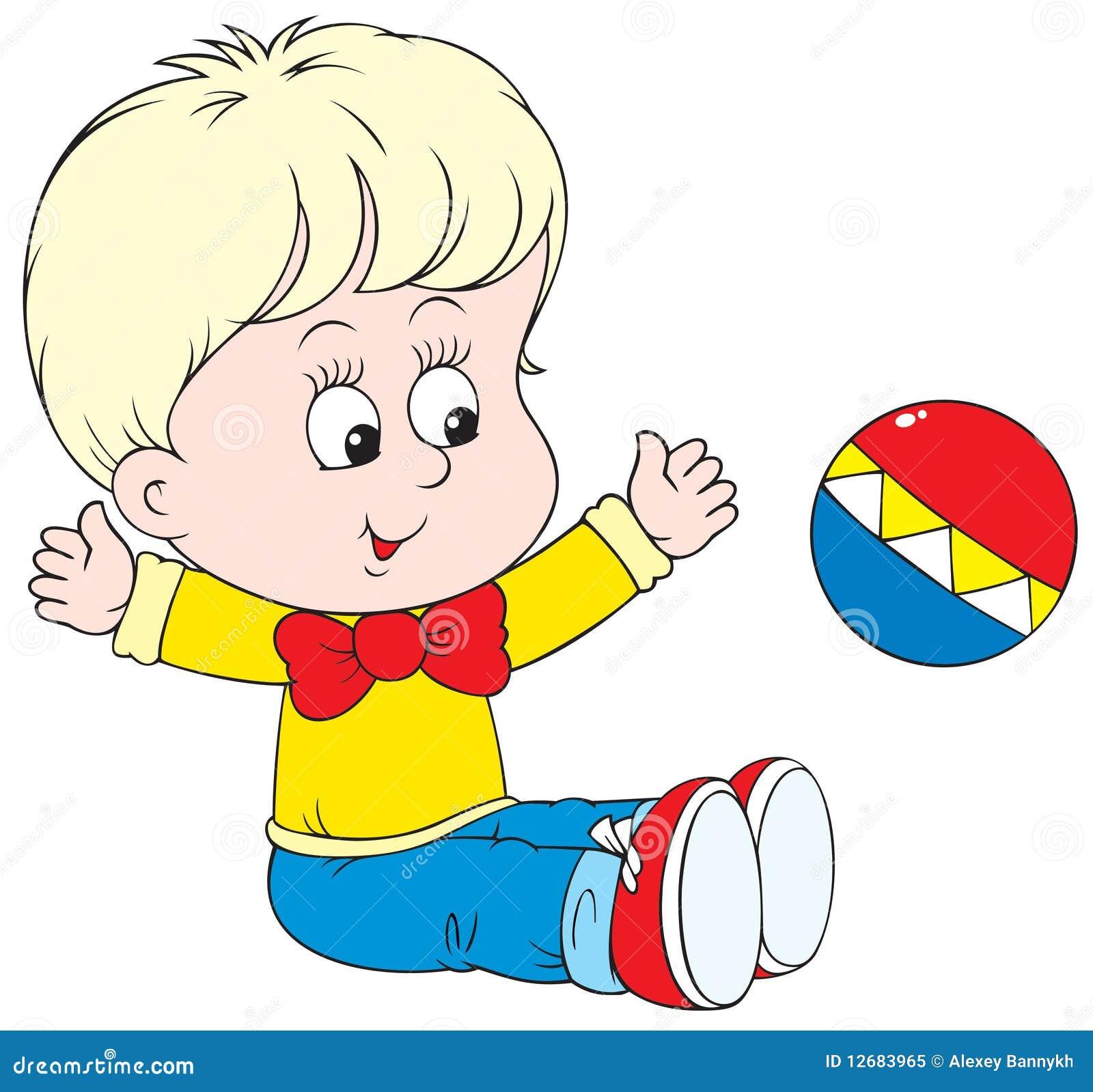 Kleines Kind, Das Mit Kugel Spielt Vektor Abbildung ...