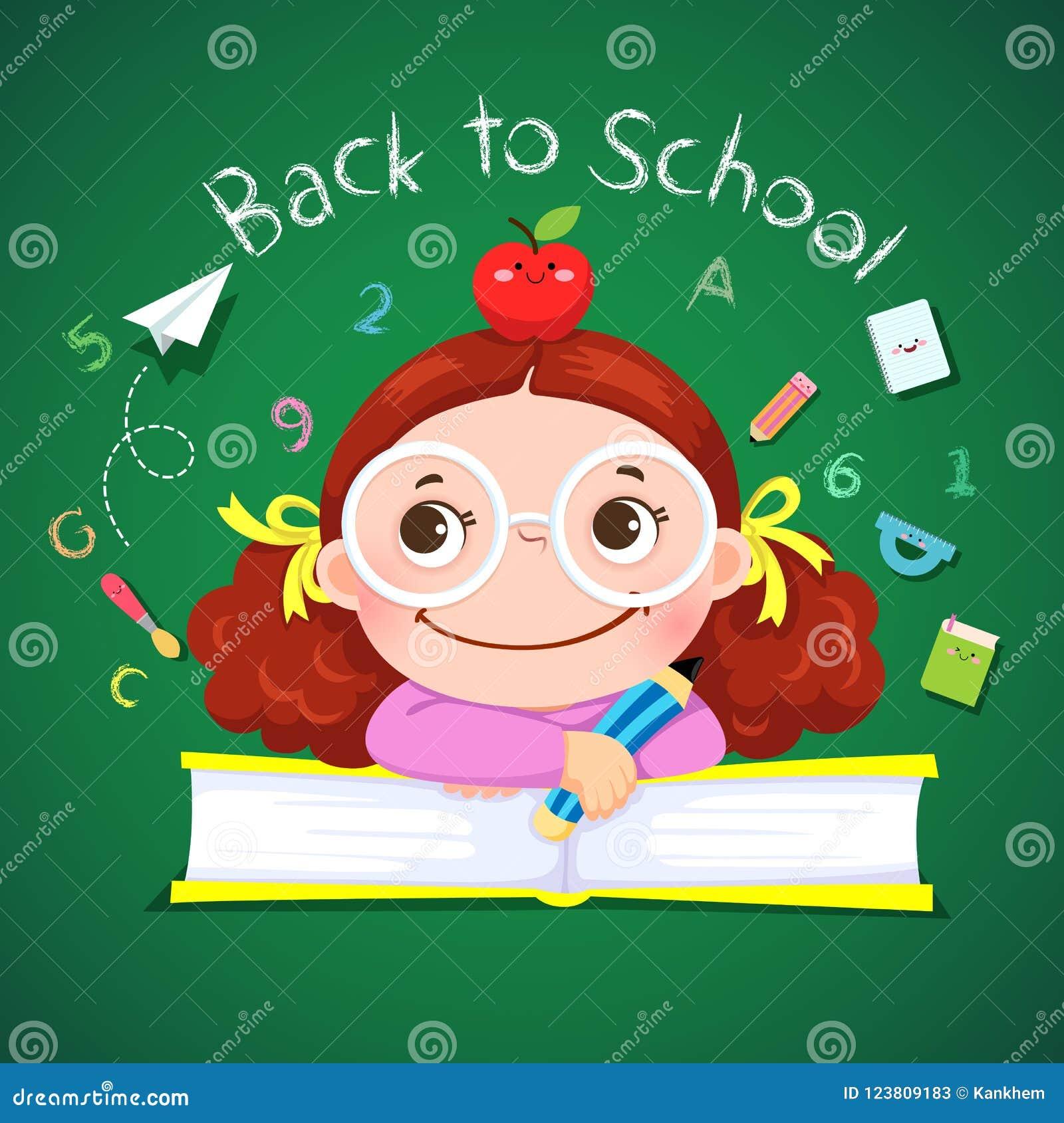 Kleines Mädchen, das Bleistift für zurück zu Schule hält