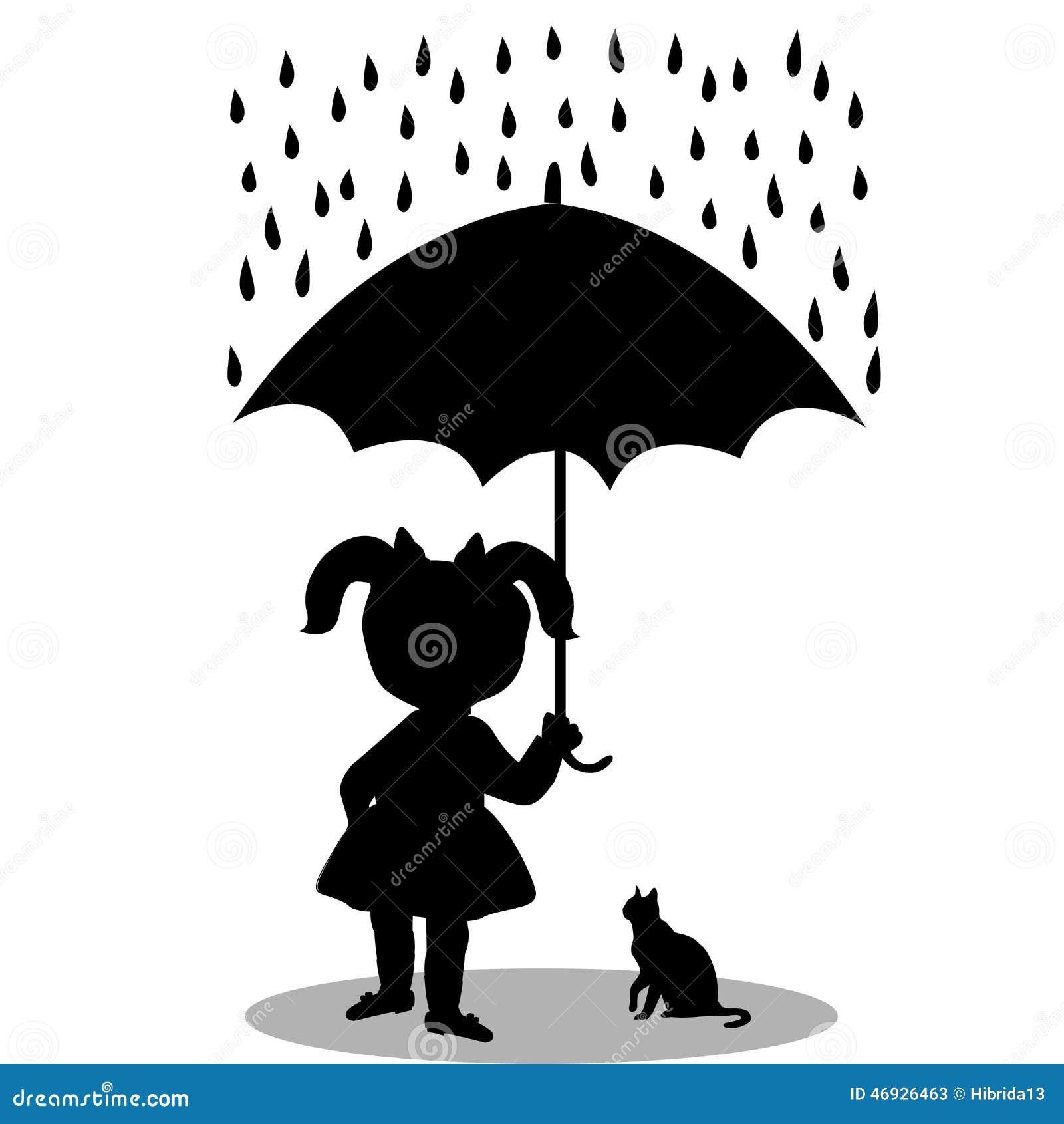 kleines mädchen mit einer katze unter einem regenschirm