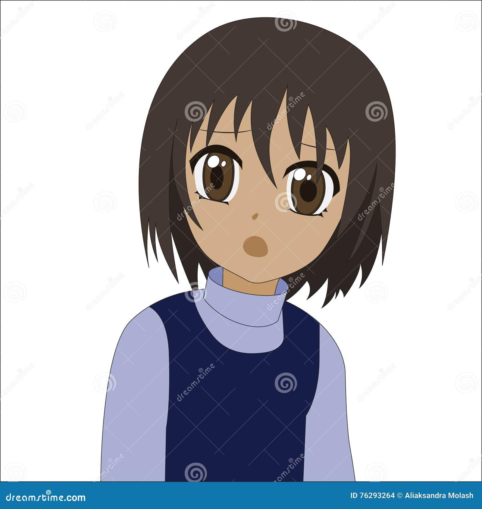kleines m dchen netten karikatur anime vektor abbildung