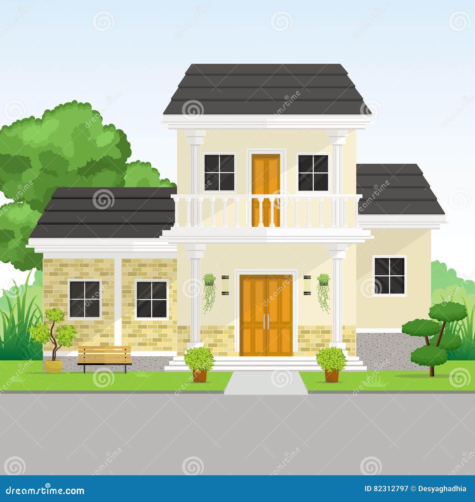 Download Kleines Modernes Klassisches Haus Mit Garten Ansicht Vektor  Abbildung   Illustration Von Bunt,
