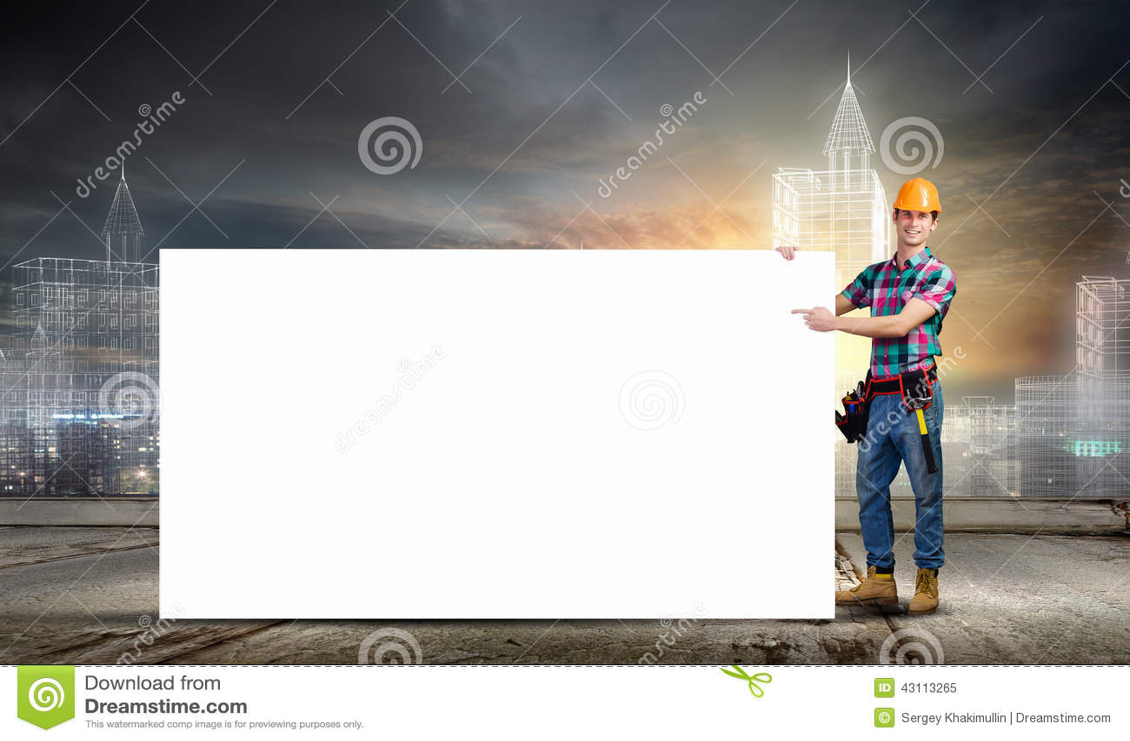 Kleinhandelaar met banner
