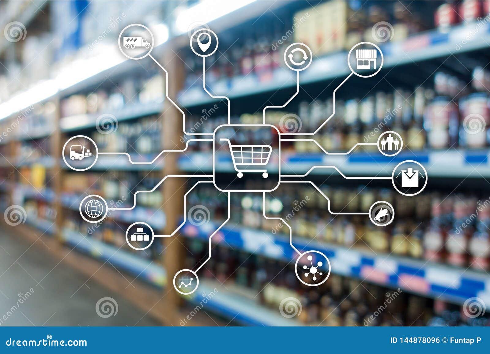 Kleinhandels marketing kanalene-commerce het Winkelen automatiseringsconcept op vage supermarktachtergrond