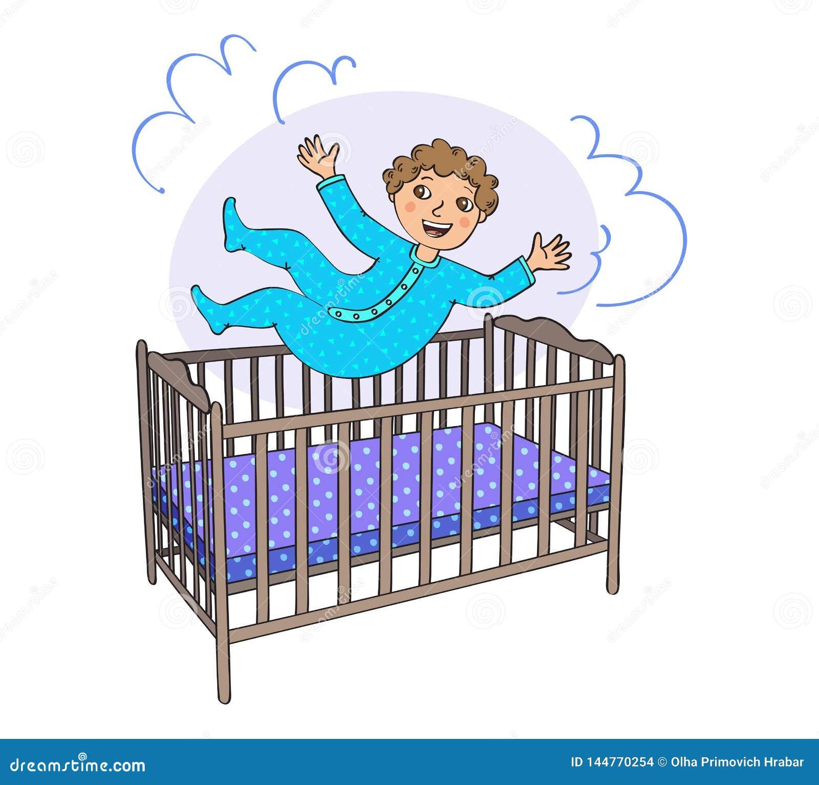 Kleinkind springt in das Bett