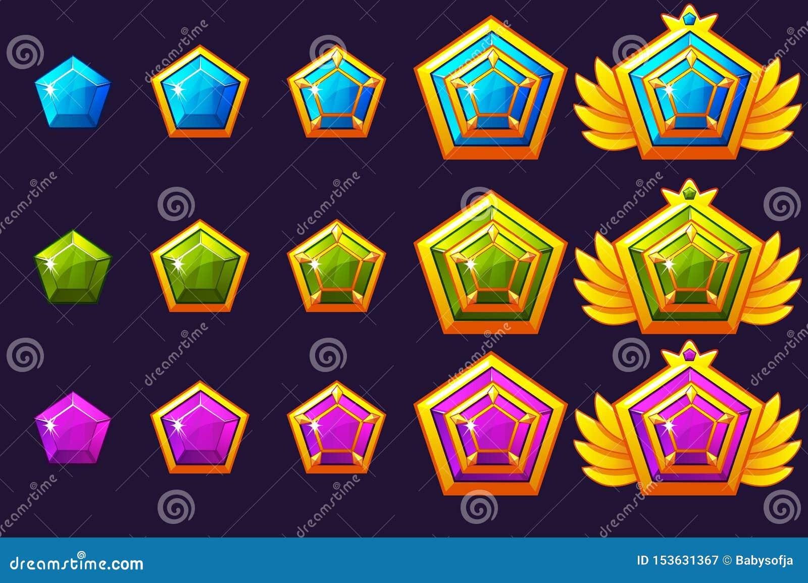 Klejnot nagrody postęp Złoci amulety ustawiający z biżuterią Wektorowe ikon wartości dla gemowego projekta