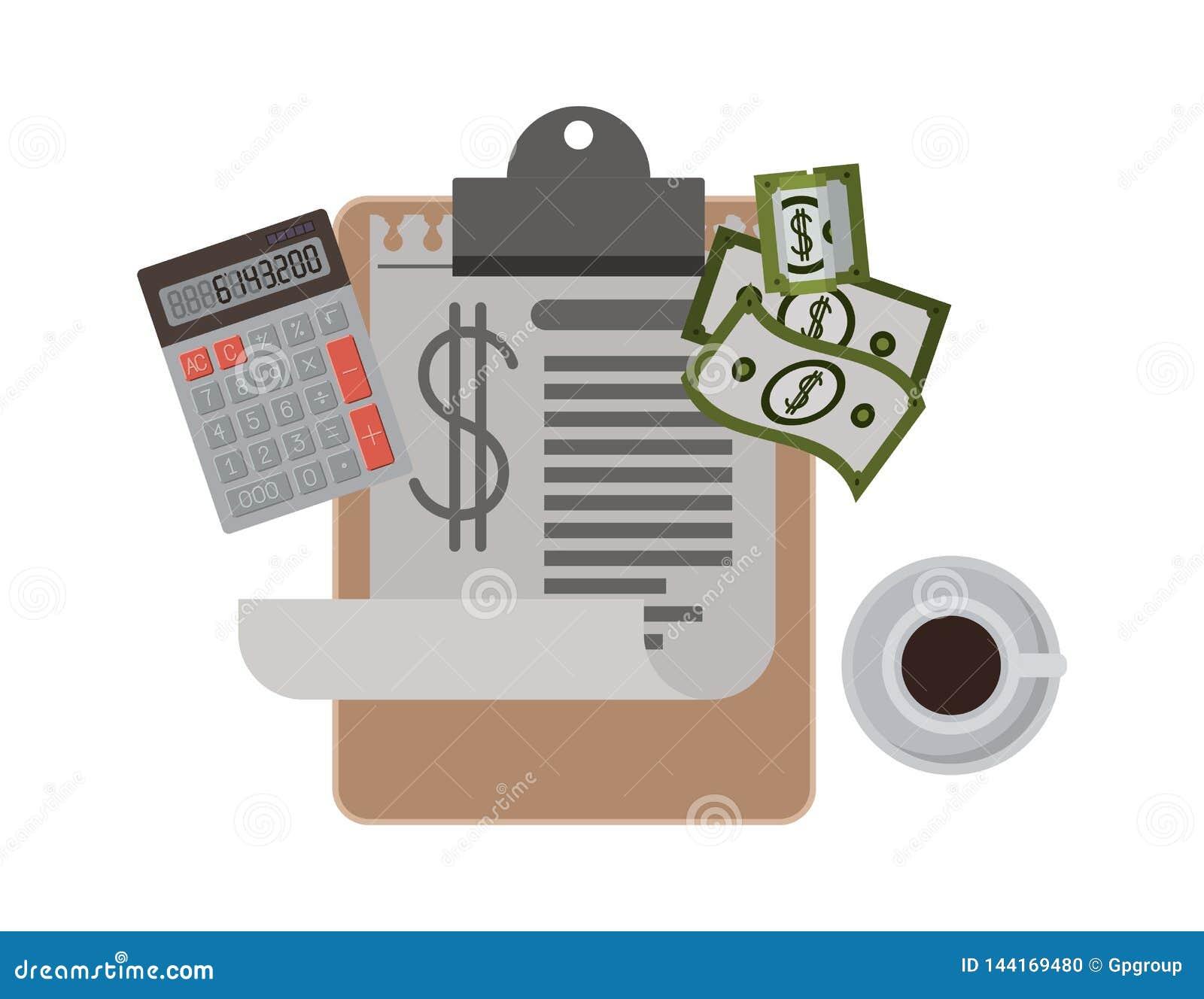 Klembordbelastingen met calculator en rekeningen