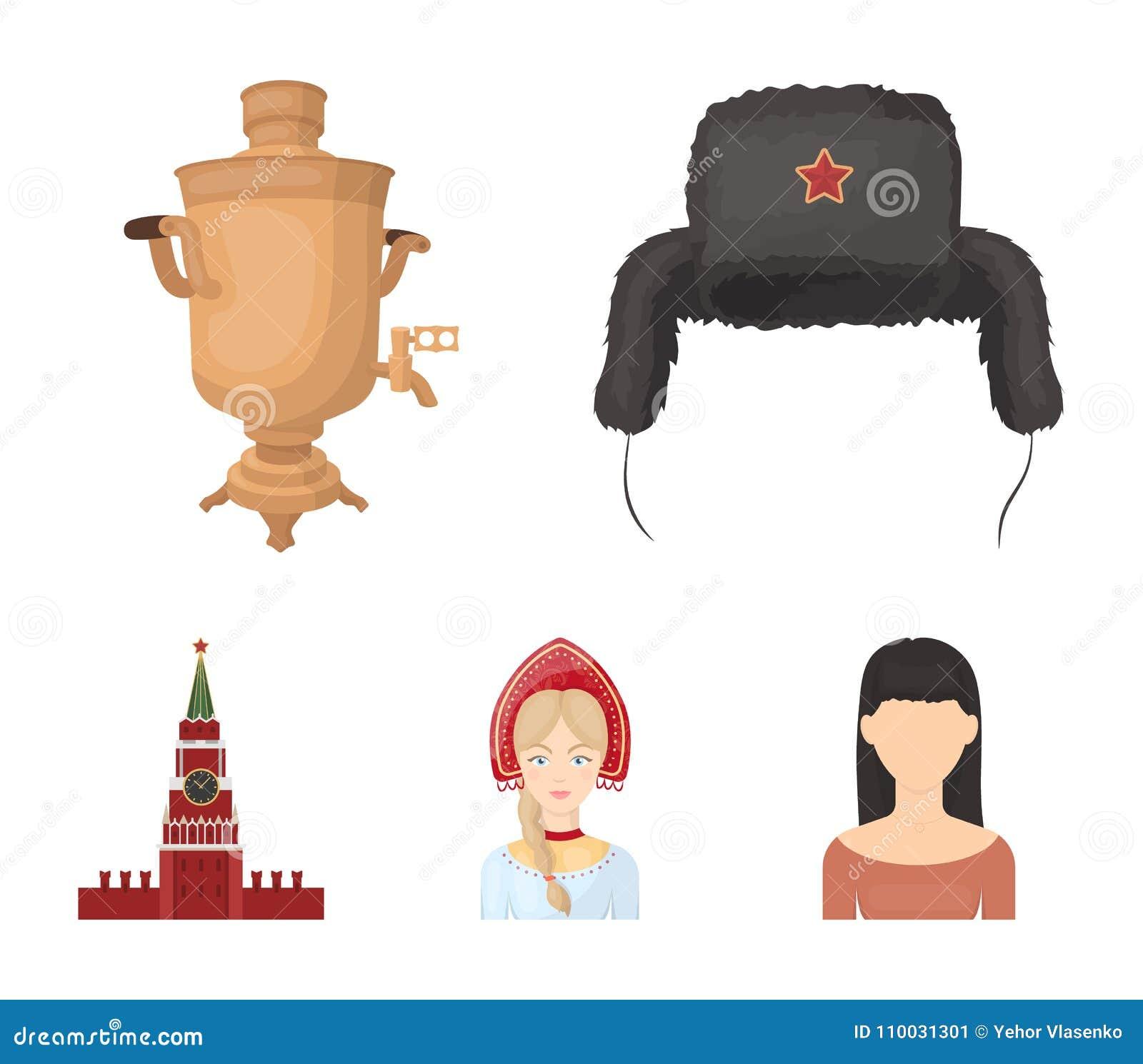 Kleren, vrouw, het Kremlin, de bouw Vastgestelde de inzamelingspictogrammen van het land van Rusland in illustratie van de het sy