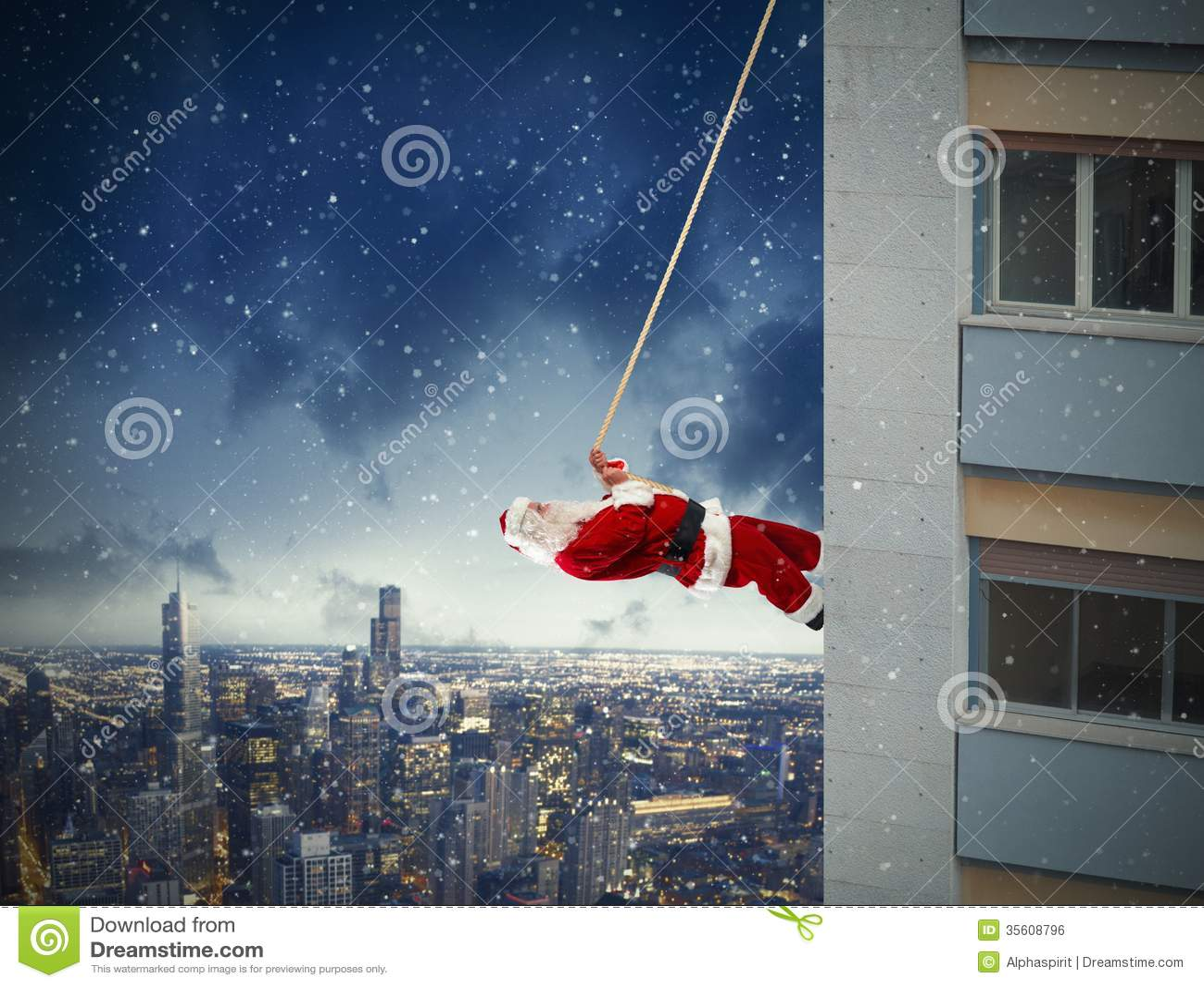 Kletternde Santa Claus