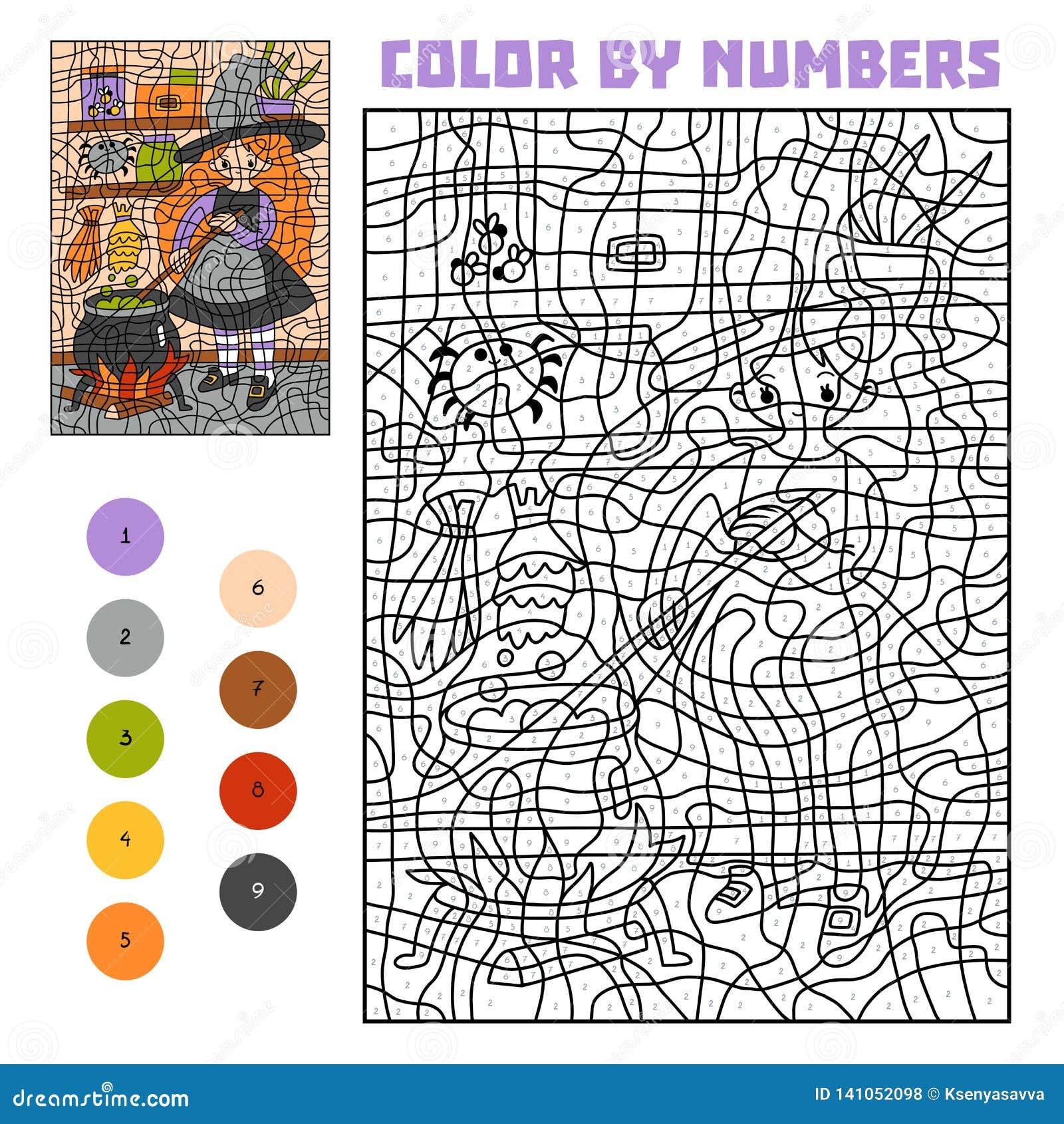 Kleur door aantal, onderwijsspel, Heks en ketel met wondermiddel