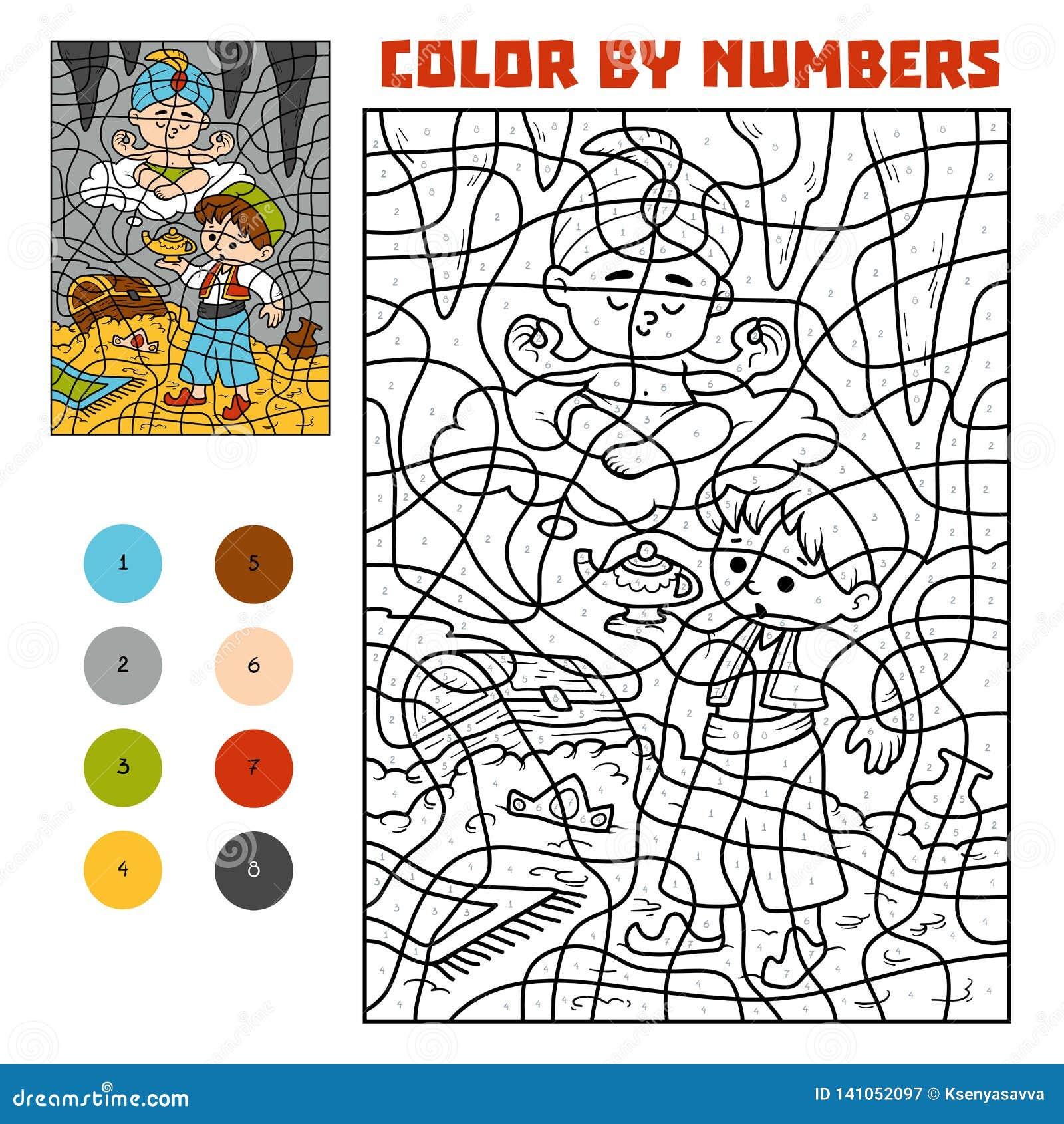 Kleur door aantal Sprookjes Aladdin en het genie in het schathol