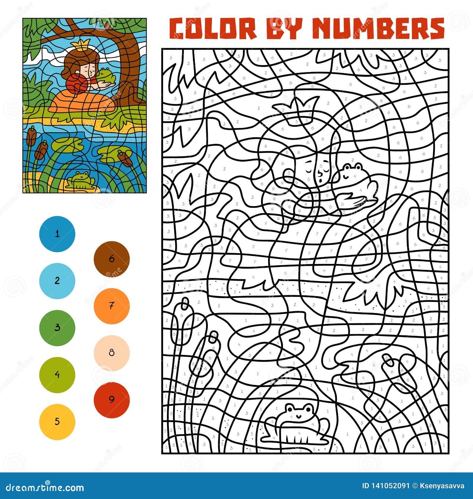 Kleur door aantal Sprookjes Kikkerprins en Prinses