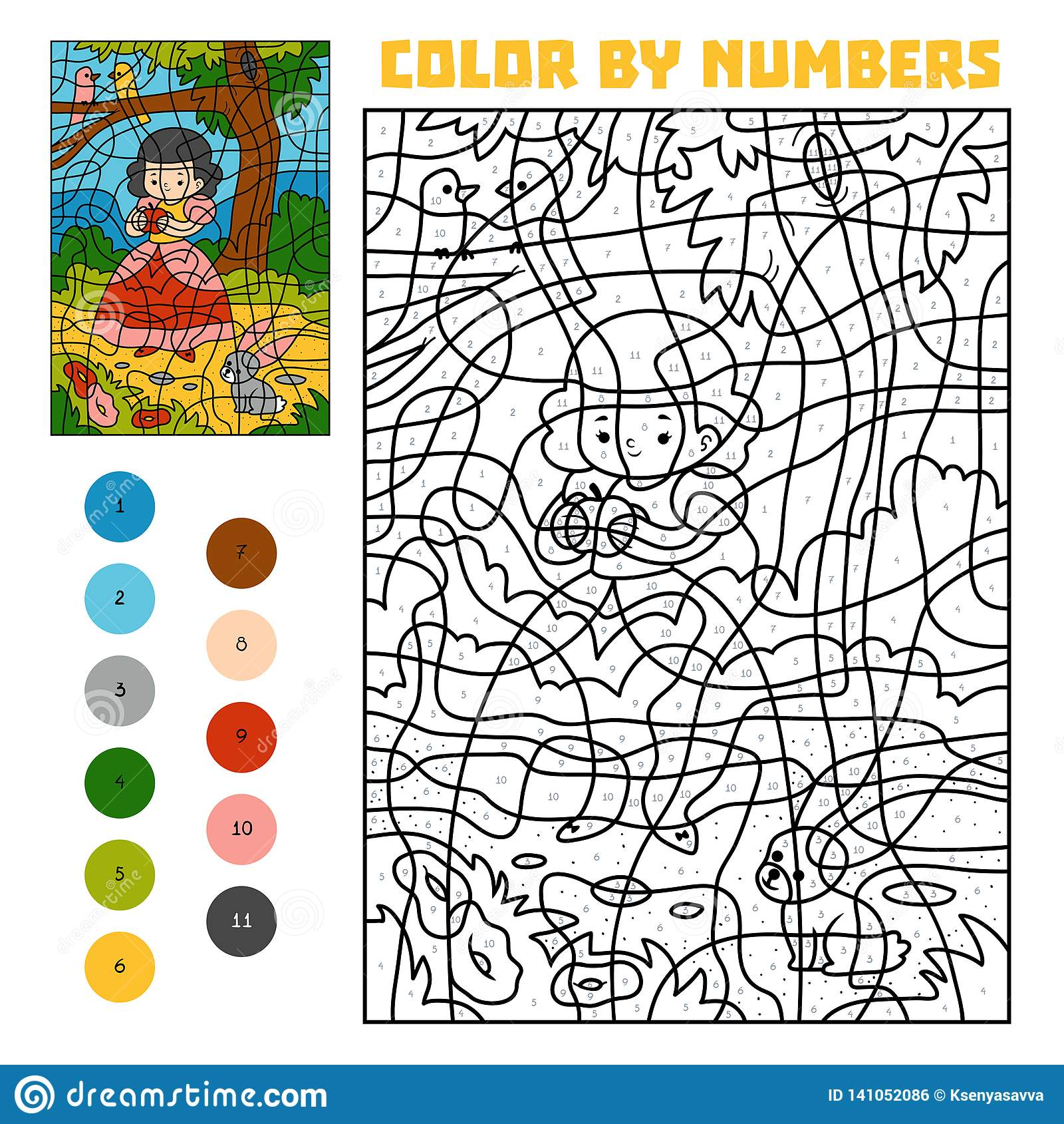 Kleur door aantal Sprookjes Sneeuwwitje en appel