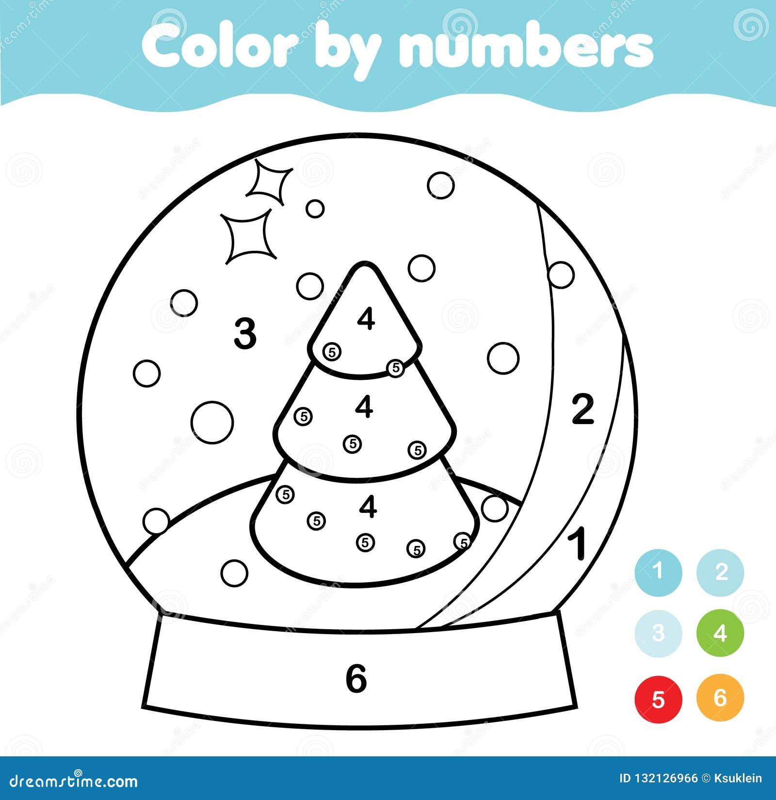 Kleur door aantallen voor jonge geitjes Onderwijsspel voor kinderen De bol van de Kerstmissneeuw De voor het drukken geschikte ac