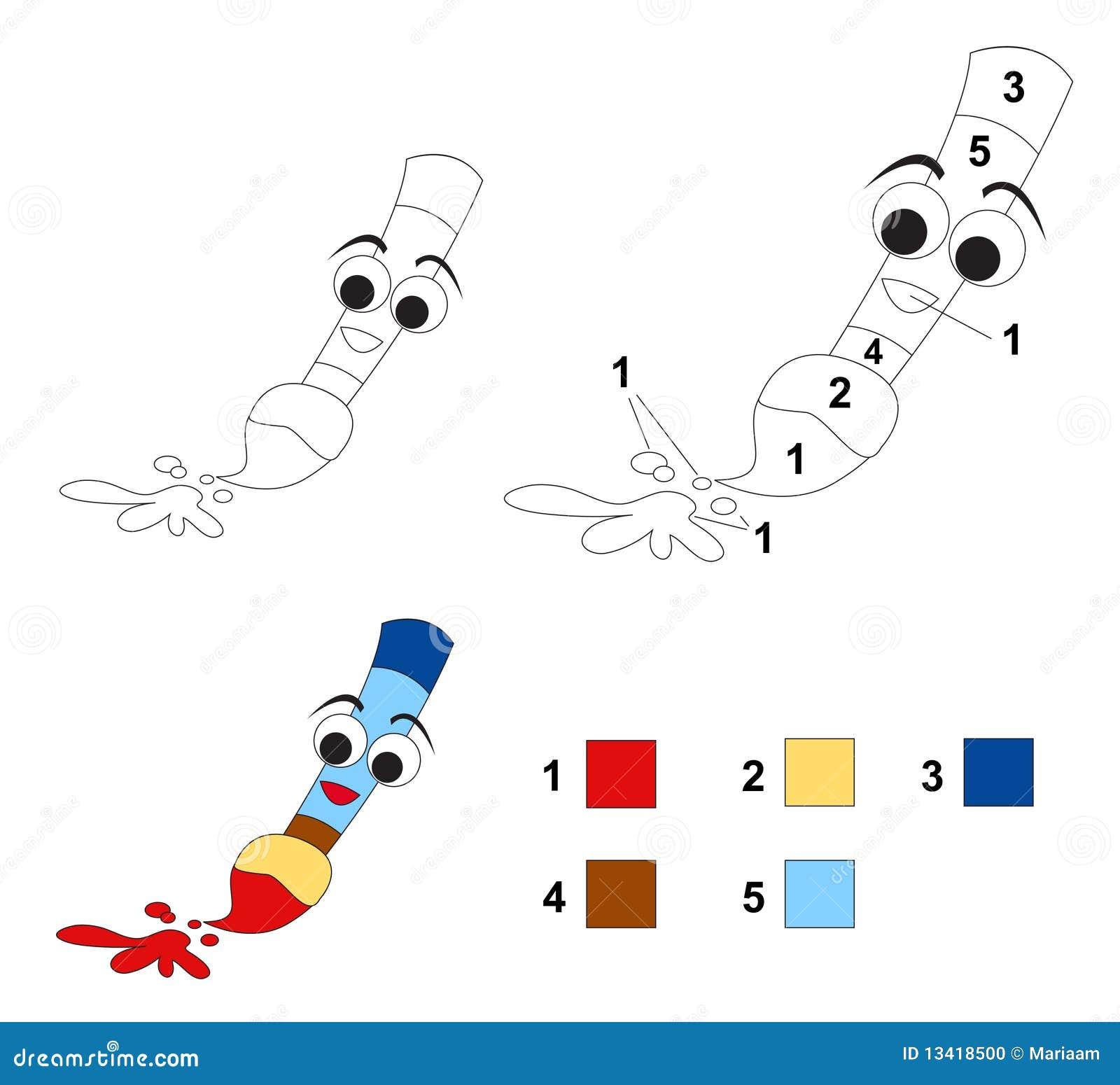 Kleur door aantalspel: Het penseel