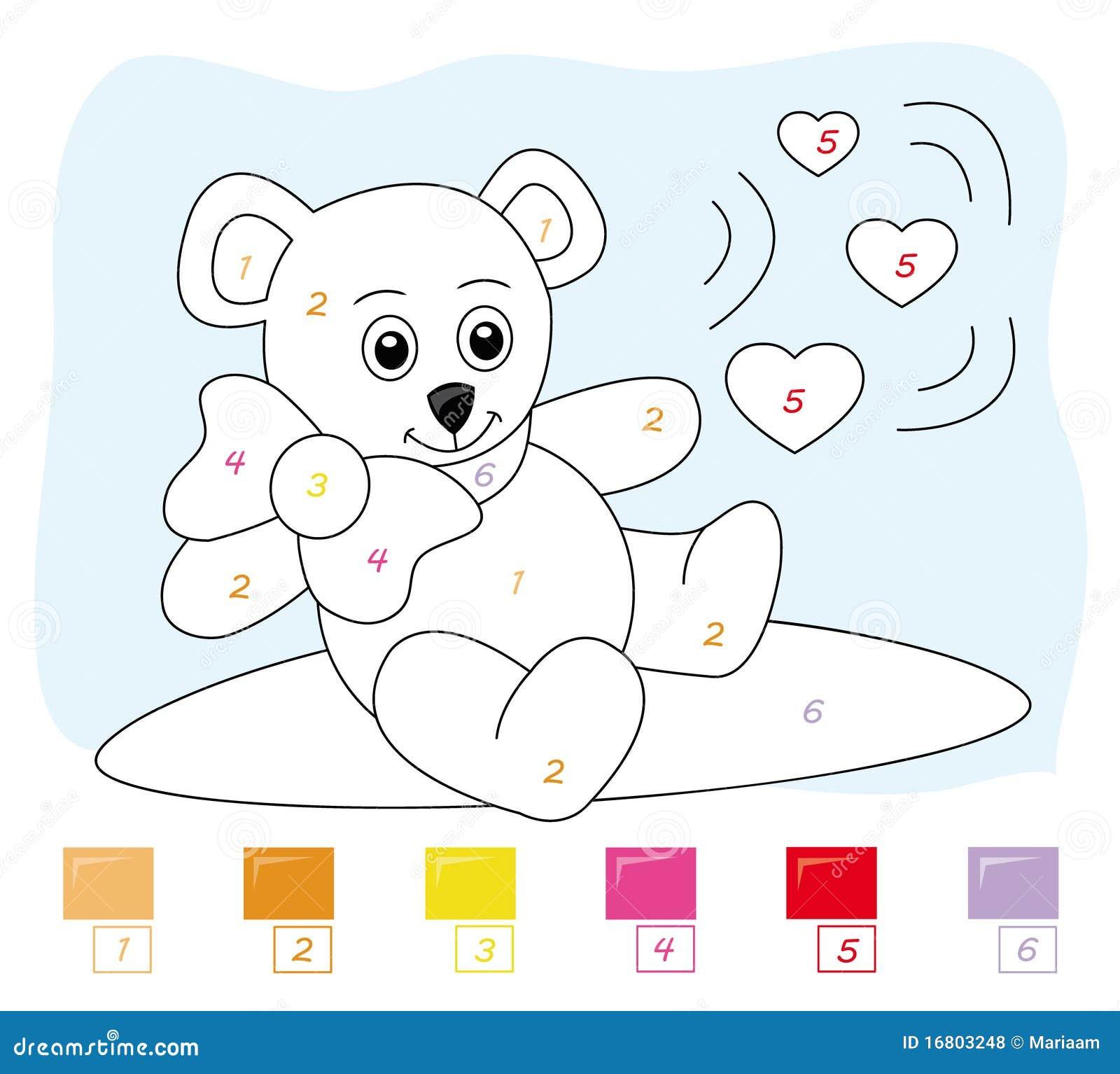 Kleur door aantalspel: teddybeer