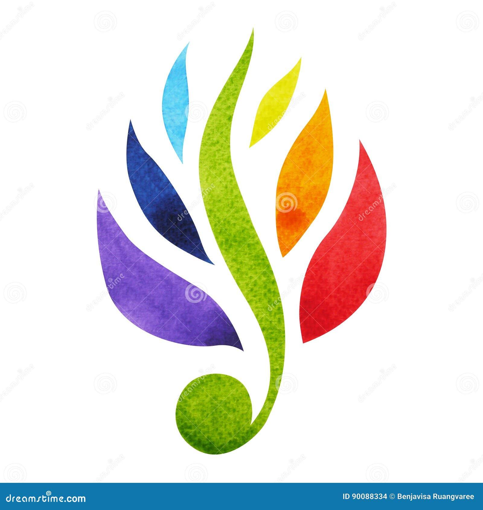 Kleur 7 van het concept van het chakrasymbool, bloeit het bloemen, waterverf schilderen