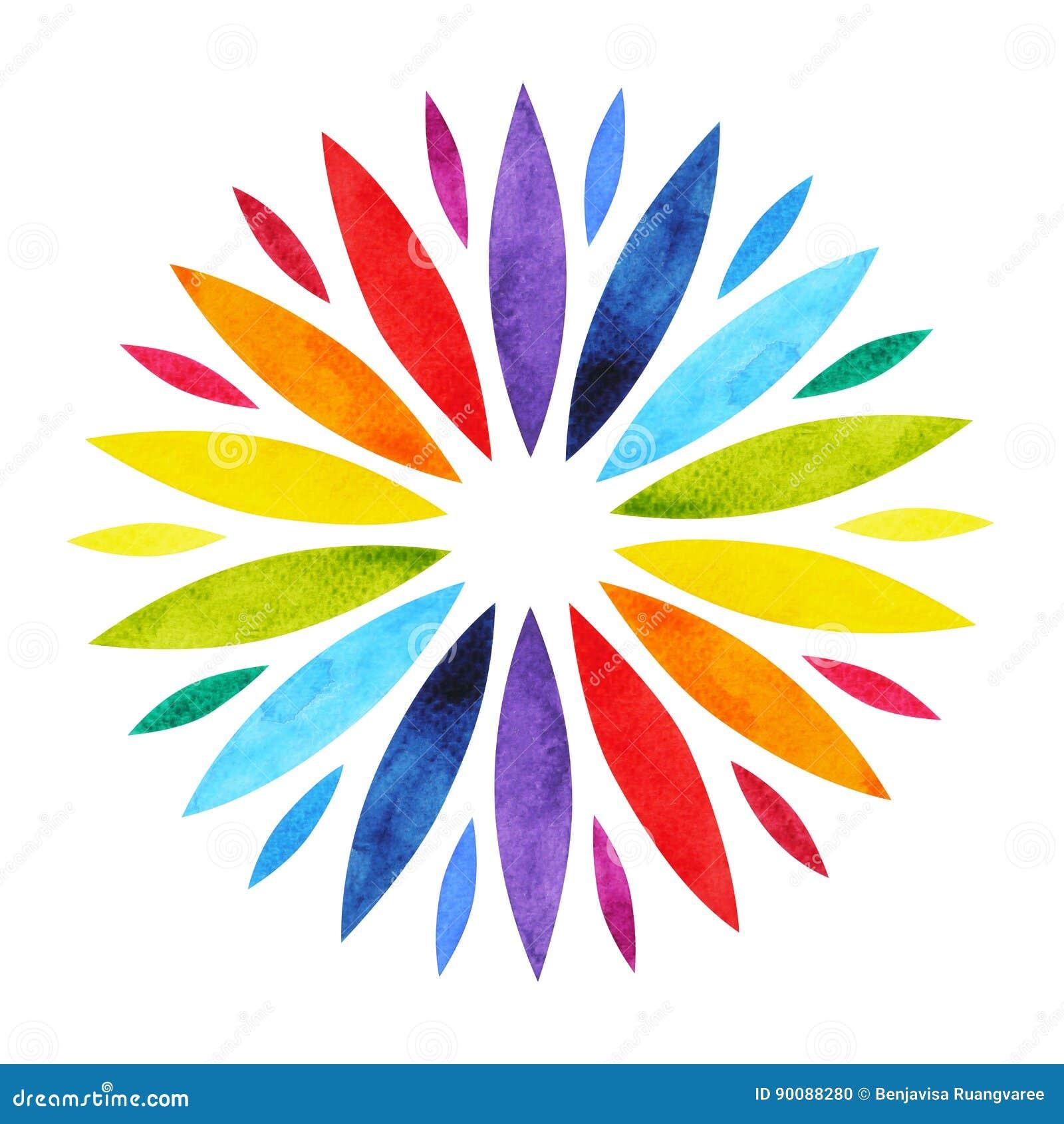 Kleur 7 van het symboolconcept van chakramandala, bloeit het bloemen, waterverf schilderen