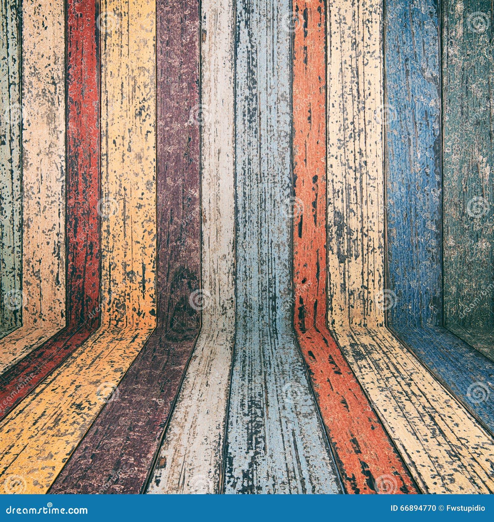 Kleuren Uitstekende Houten Muren En Vloer Voor Achtergrond Stock ...