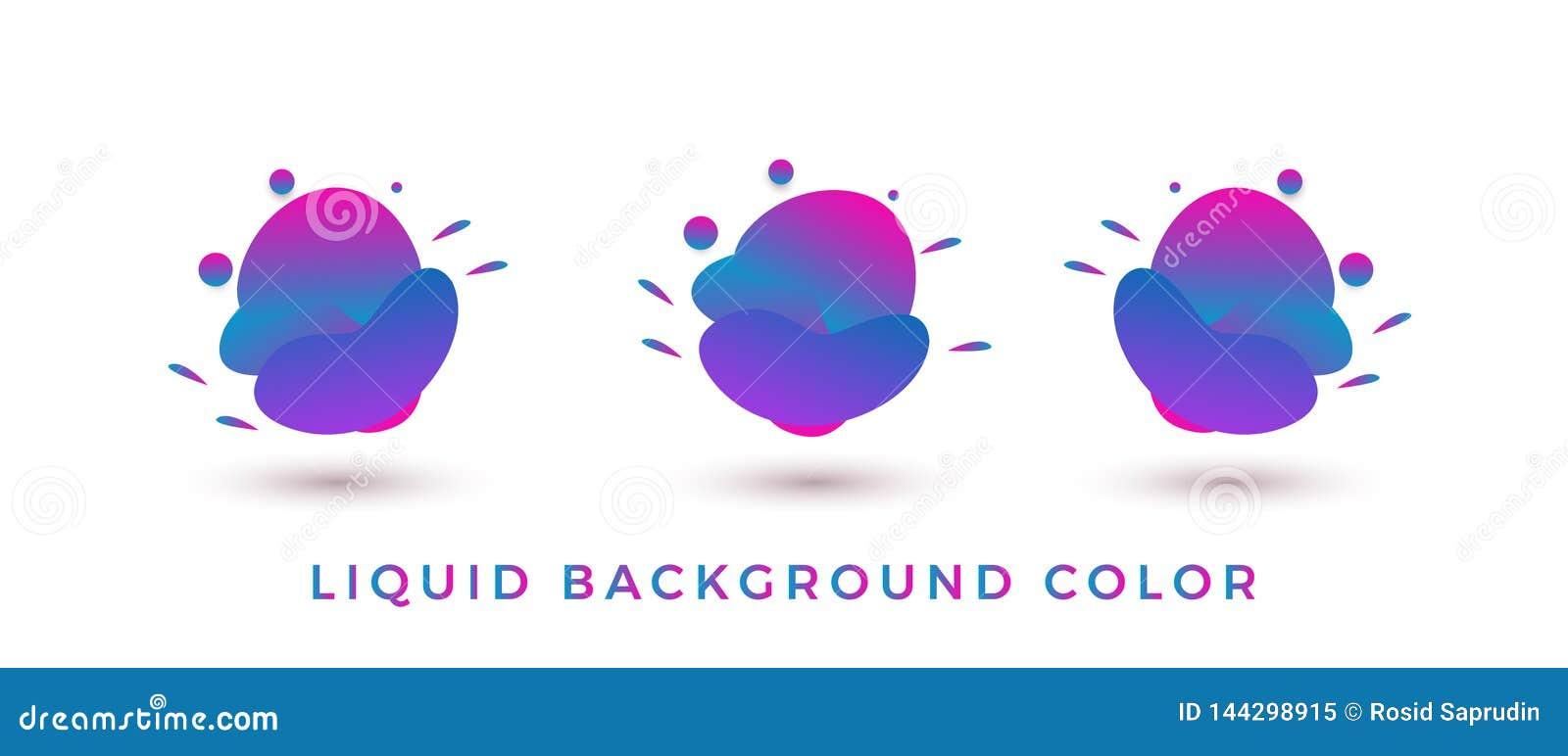 KLEUREN vloeibare vorm, moderne abstracte bannerreeks geometrische vlakte met diverse kleuren - Vector
