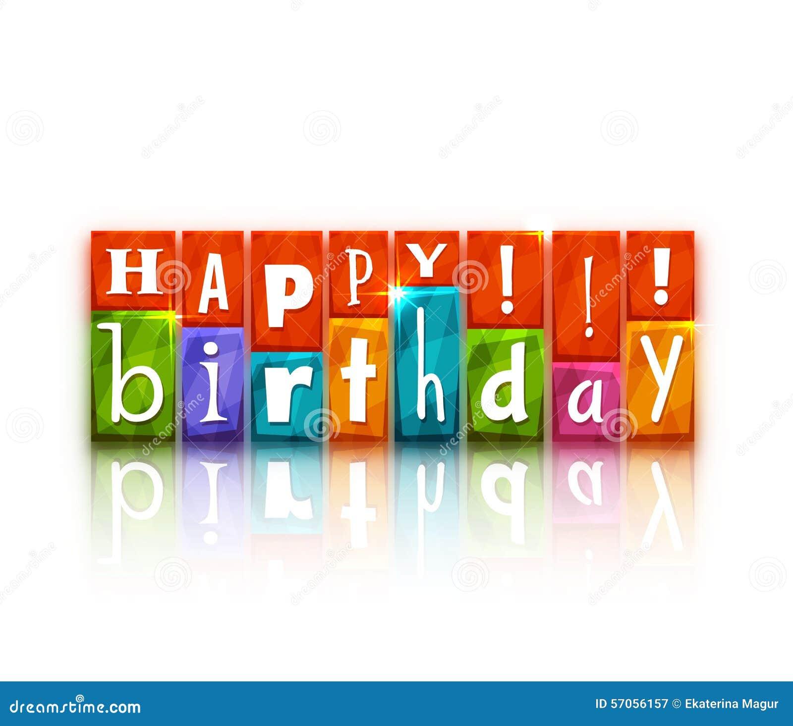 Kleurenblokken met brieven Gelukkige Verjaardag