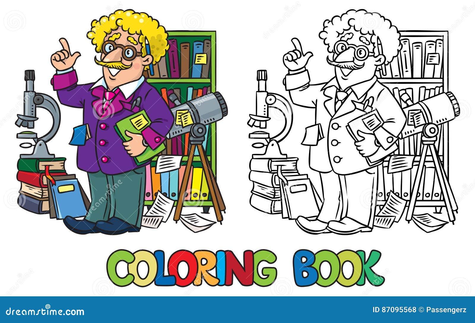 Kleurend boek van grappige wetenschapper of uitvinder