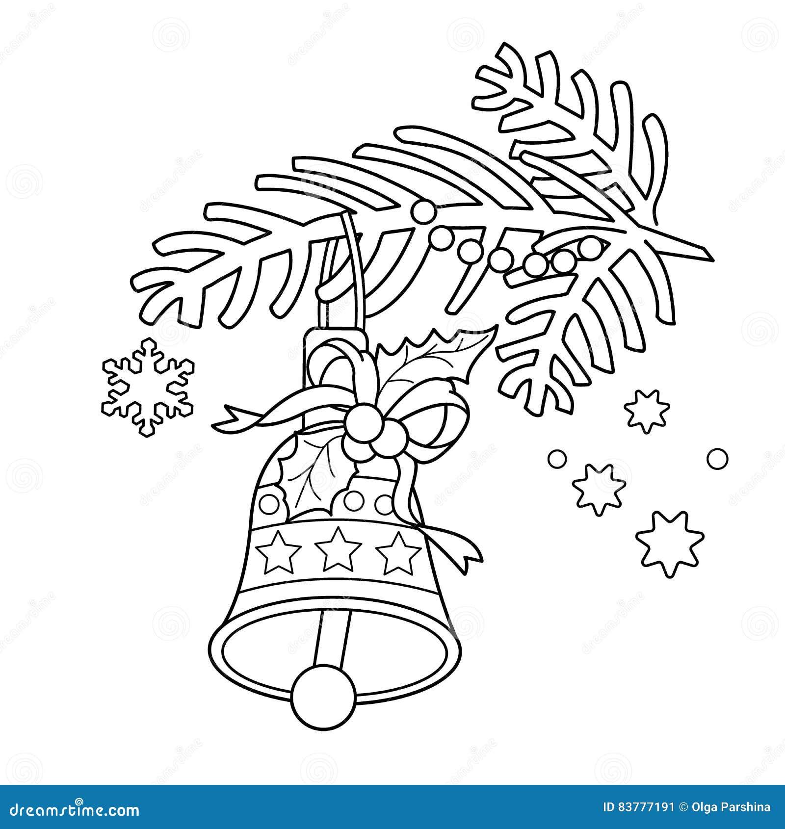 Kleurend Paginaoverzicht van Kerstmisklok Kerstboomtak