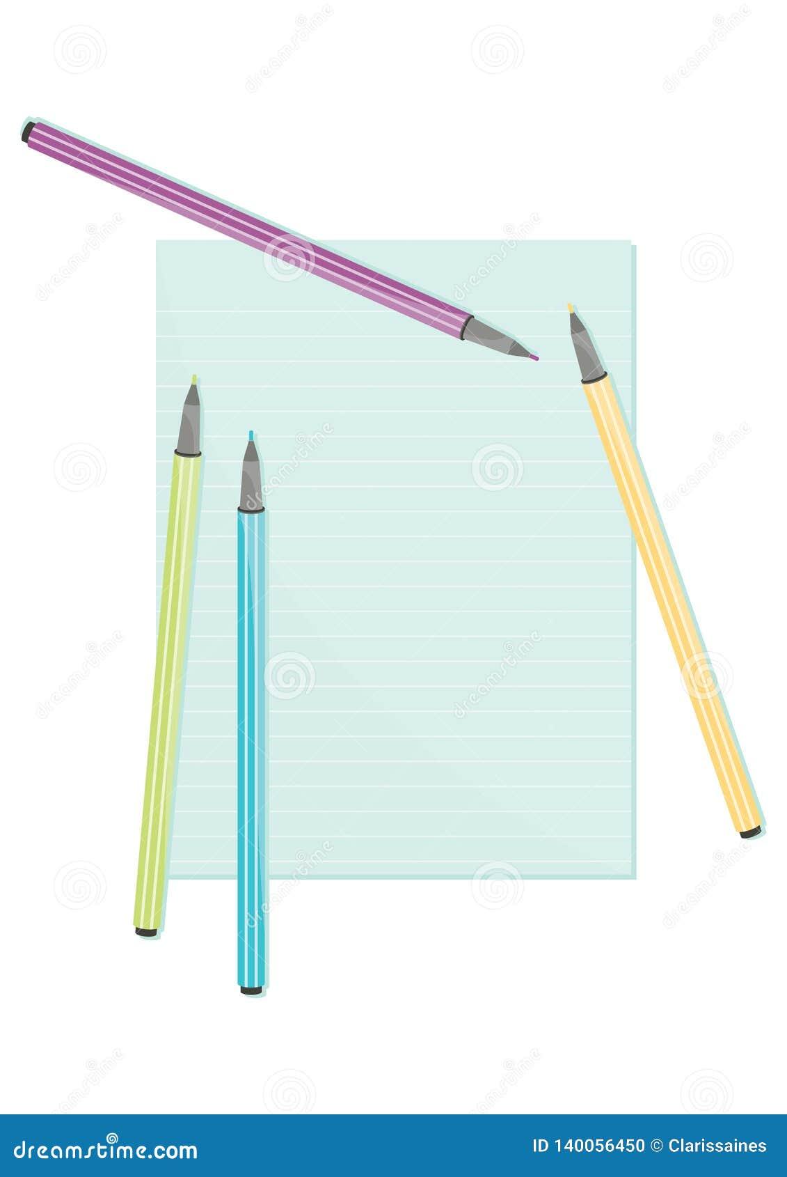 Kleurend pennen en notadocument schrijfgerei