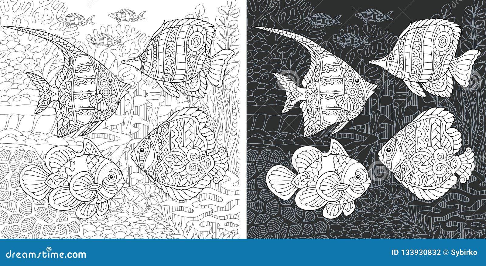 Kleurende boekpagina met tropische vissen