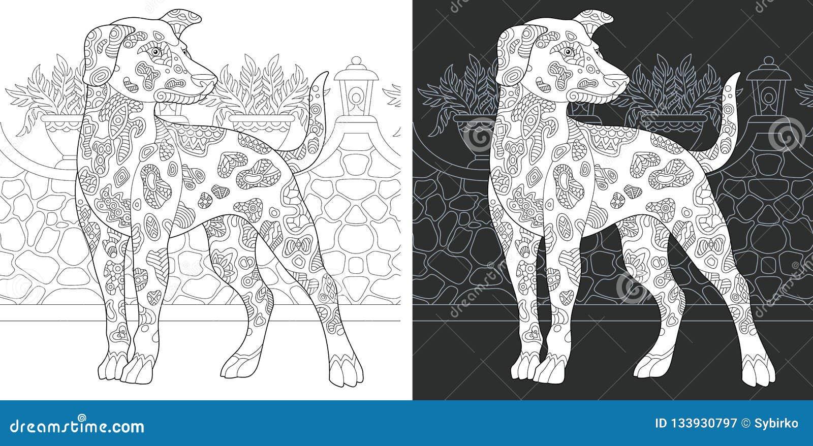 Kleurende pagina met Dalmatische hond