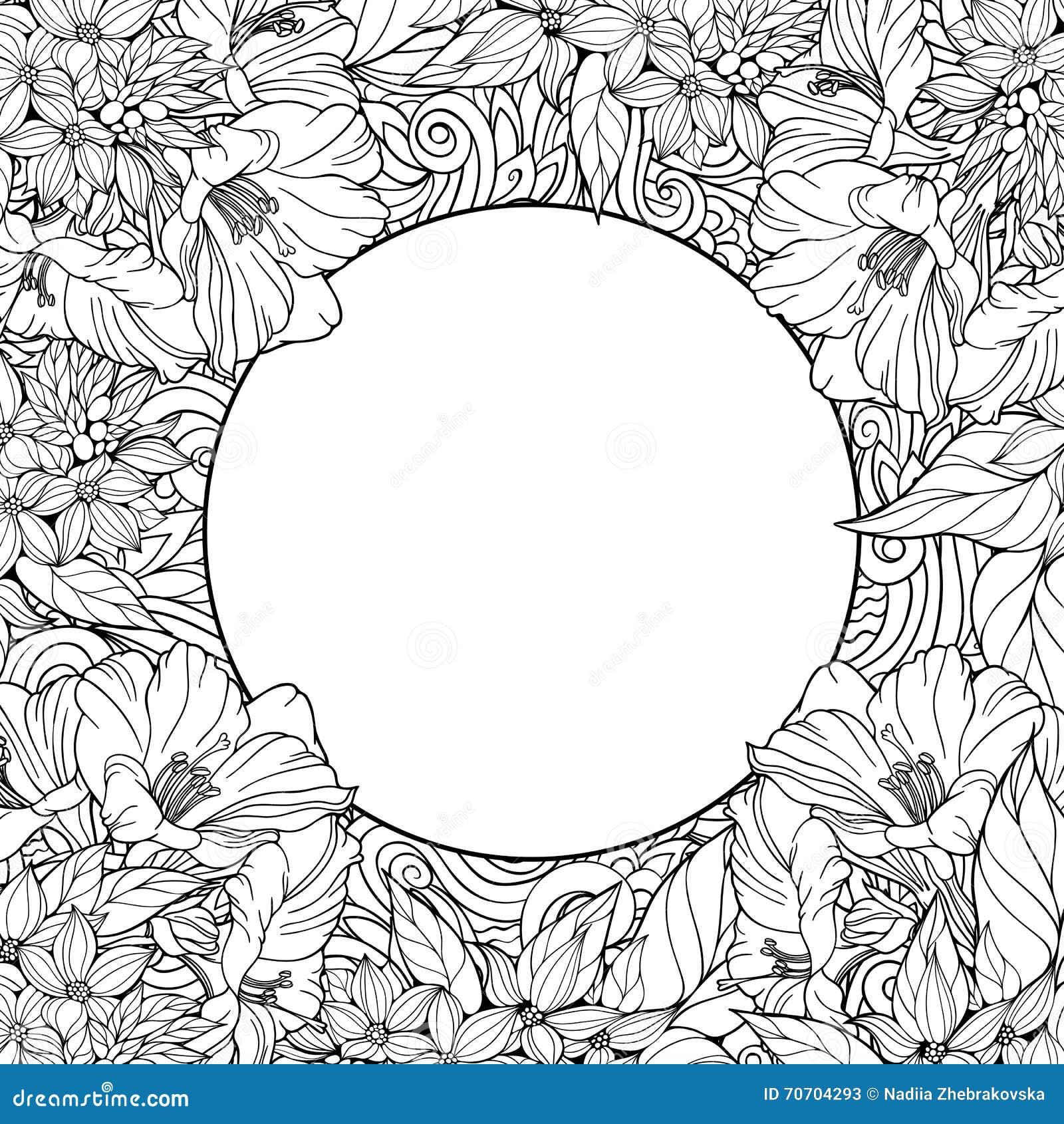 Kleurende pagina met naadloos patroon van bloemen en plaats voor tex