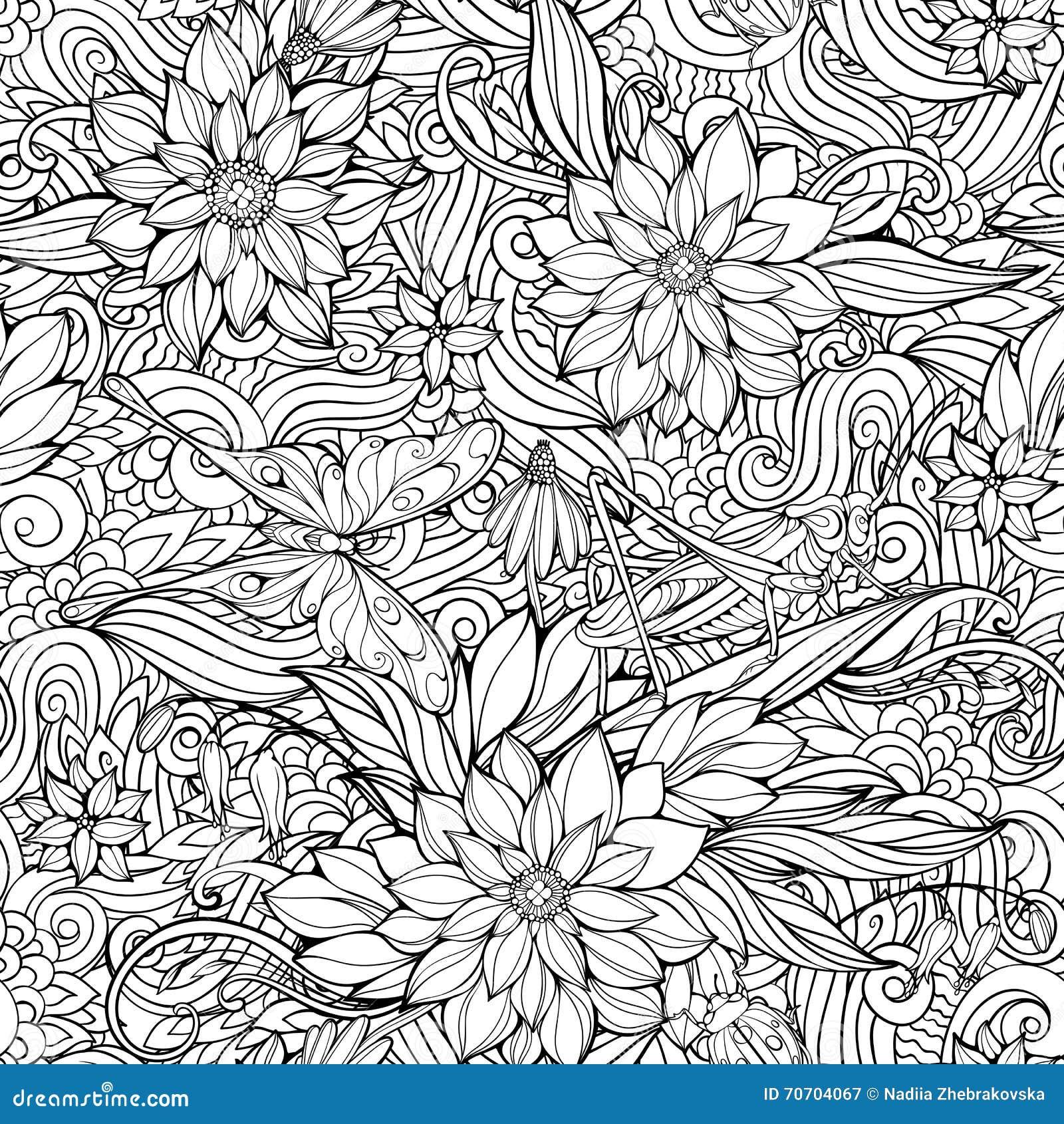 Kleurende pagina met naadloos patroon van bloemen, vlinders en