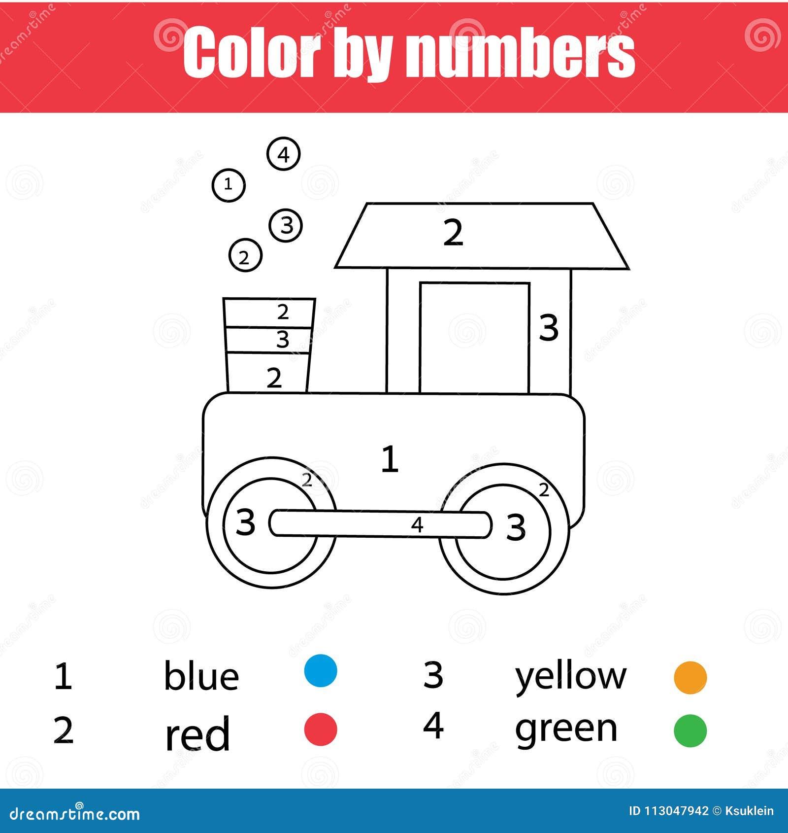 Kleurende pagina met stuk speelgoed trein Kleur door aantallen, voor het drukken geschikt aantekenvel Onderwijsspel voor kinderen