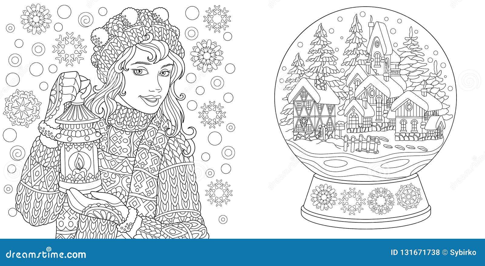 Kleurende pagina s Kleurend boek voor volwassenen Kleuringsbeelden met de wintermeisje en de bal van de kristalsneeuw Antistresss