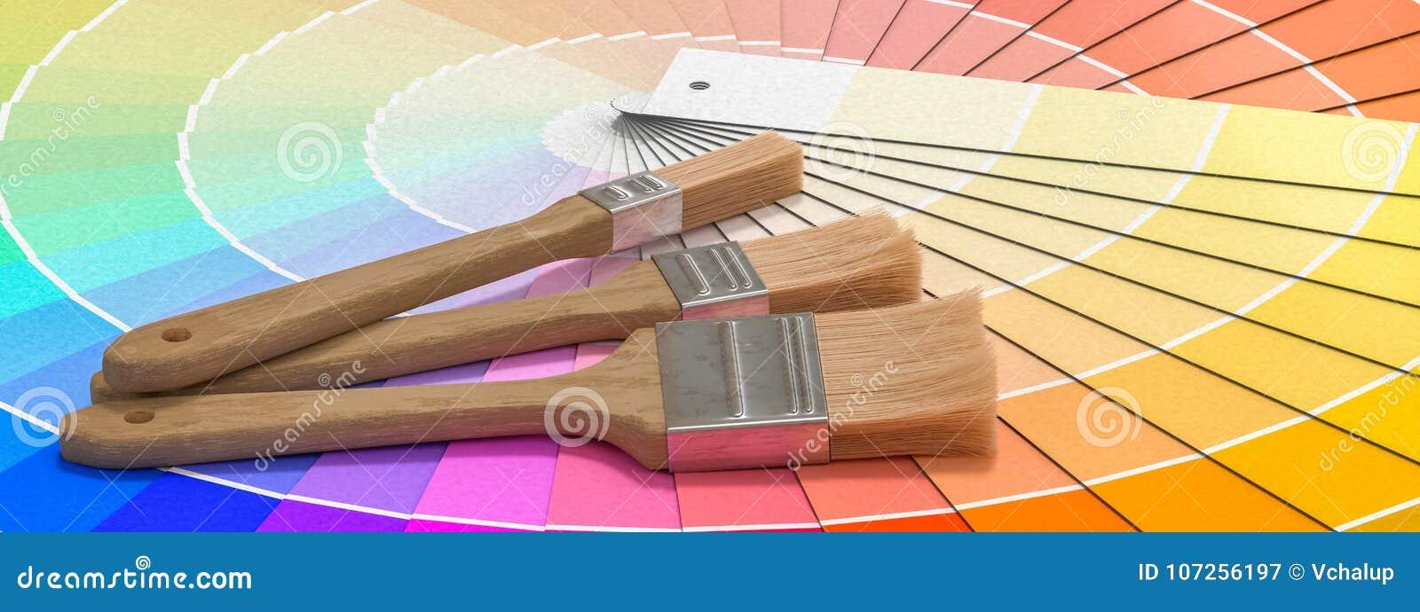 Kleurenpalet - gids van verfsteekproeven en het schilderen borstels 3D teruggegeven illustratie