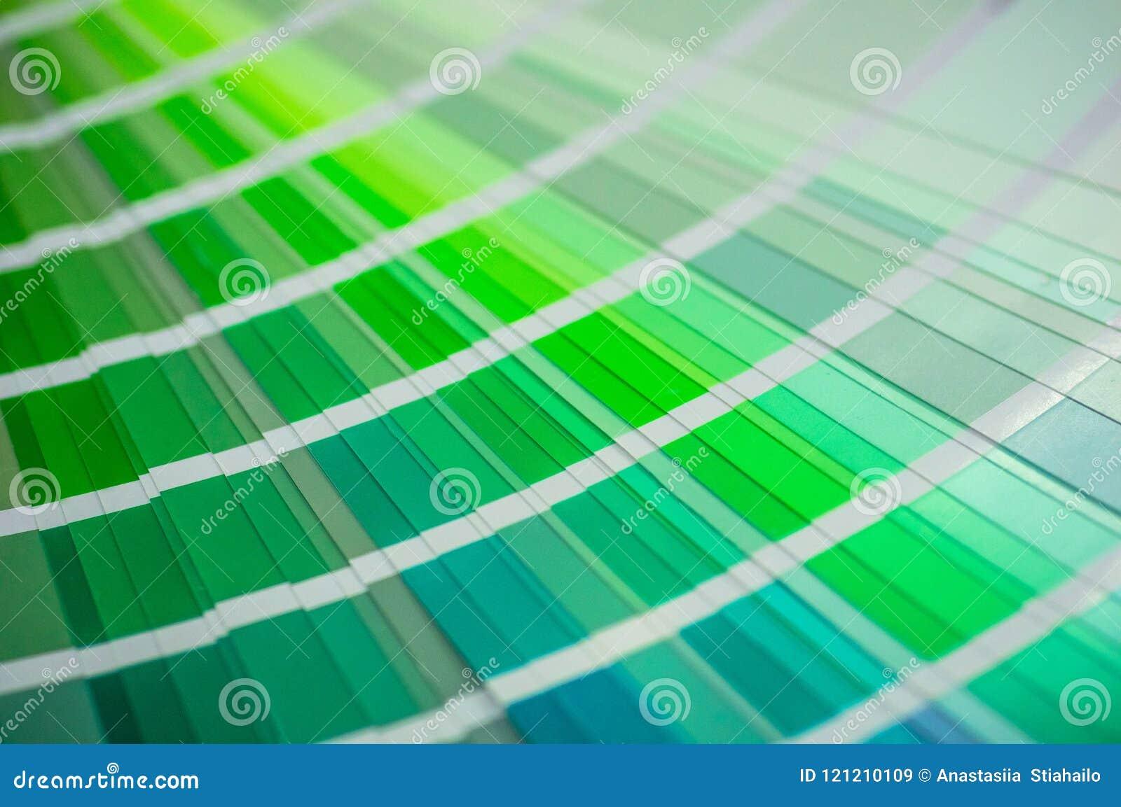 Kleurenpalet met diverse steekproeven De catalogus van de verfselectie, close-up, Multicolored de Productieconcept van de palisti