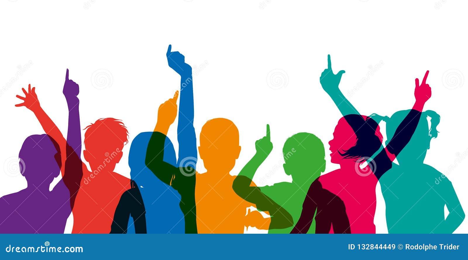 Kleurensilhouet van kinderen die hun handen opheffen, op school