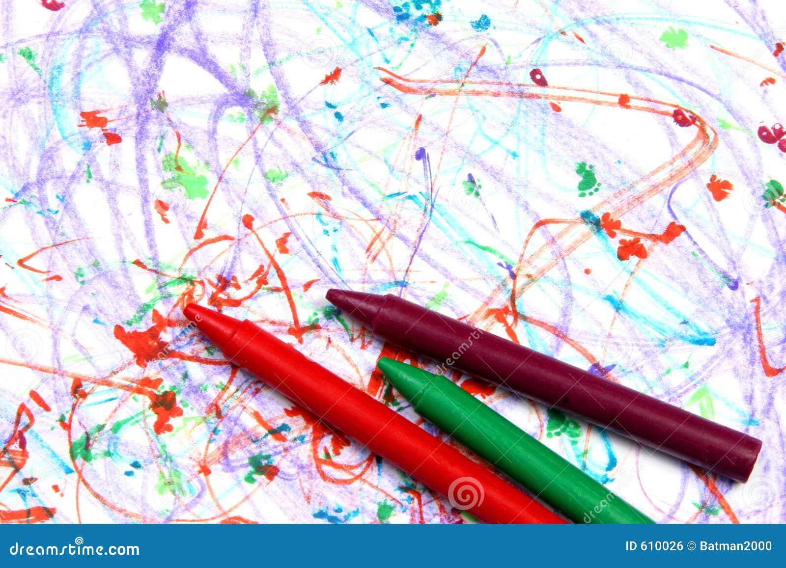 Kleurpotloden op papier ver