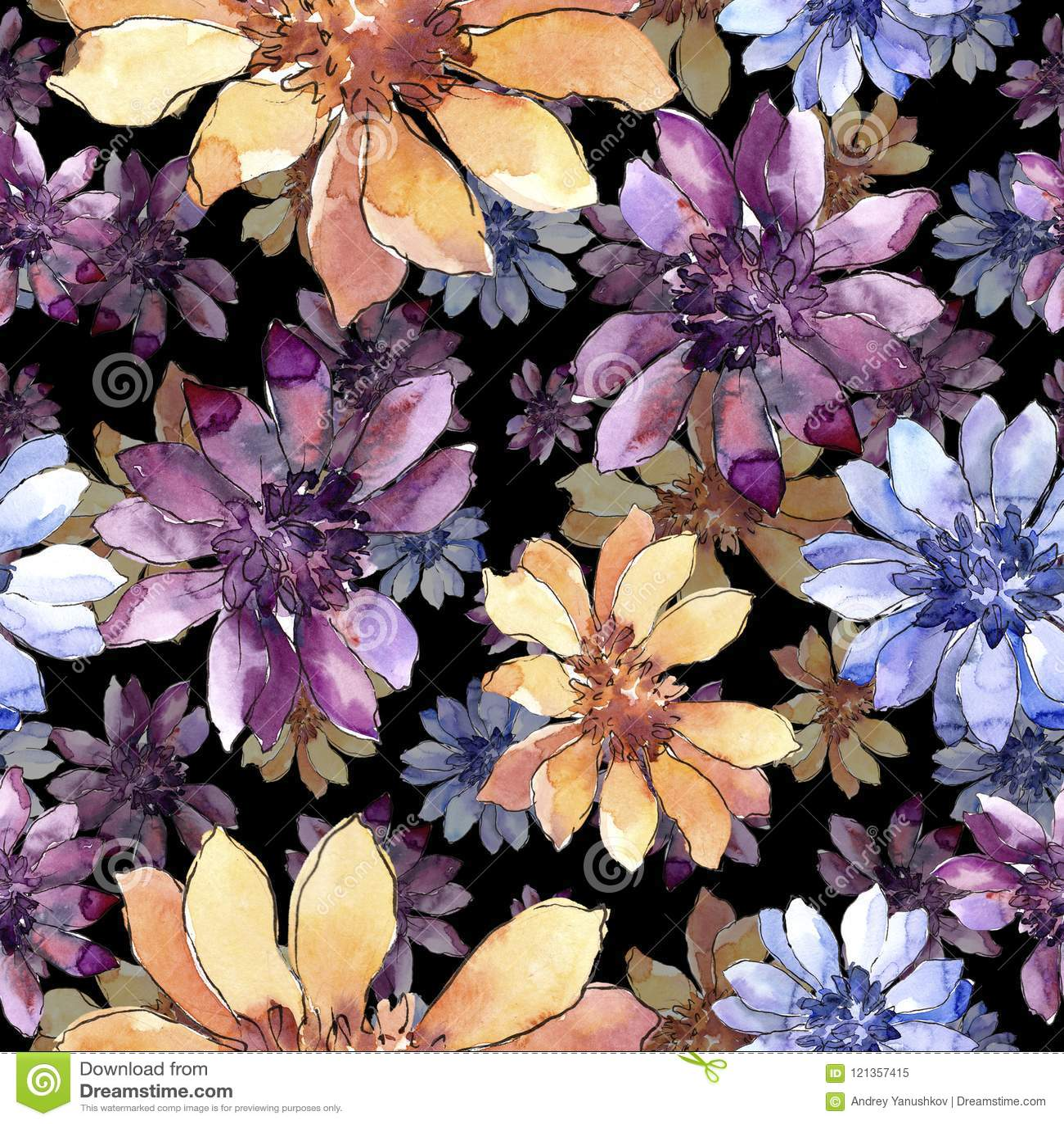 Kleurrijk Afrikaans madeliefje Bloemen botanische bloem Naadloos patroon als achtergrond