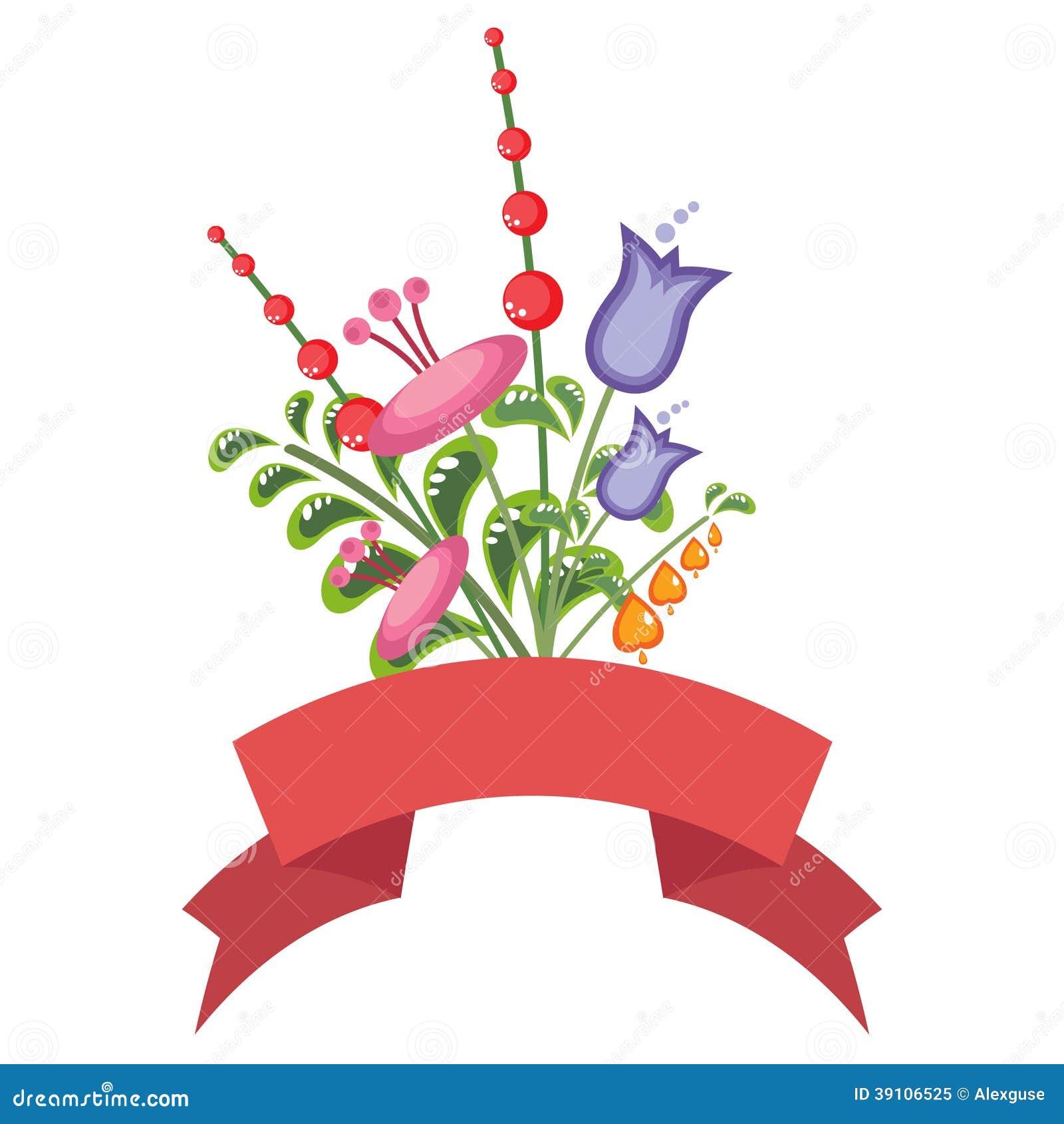 Kleurrijk bloemboeket met een rode banner