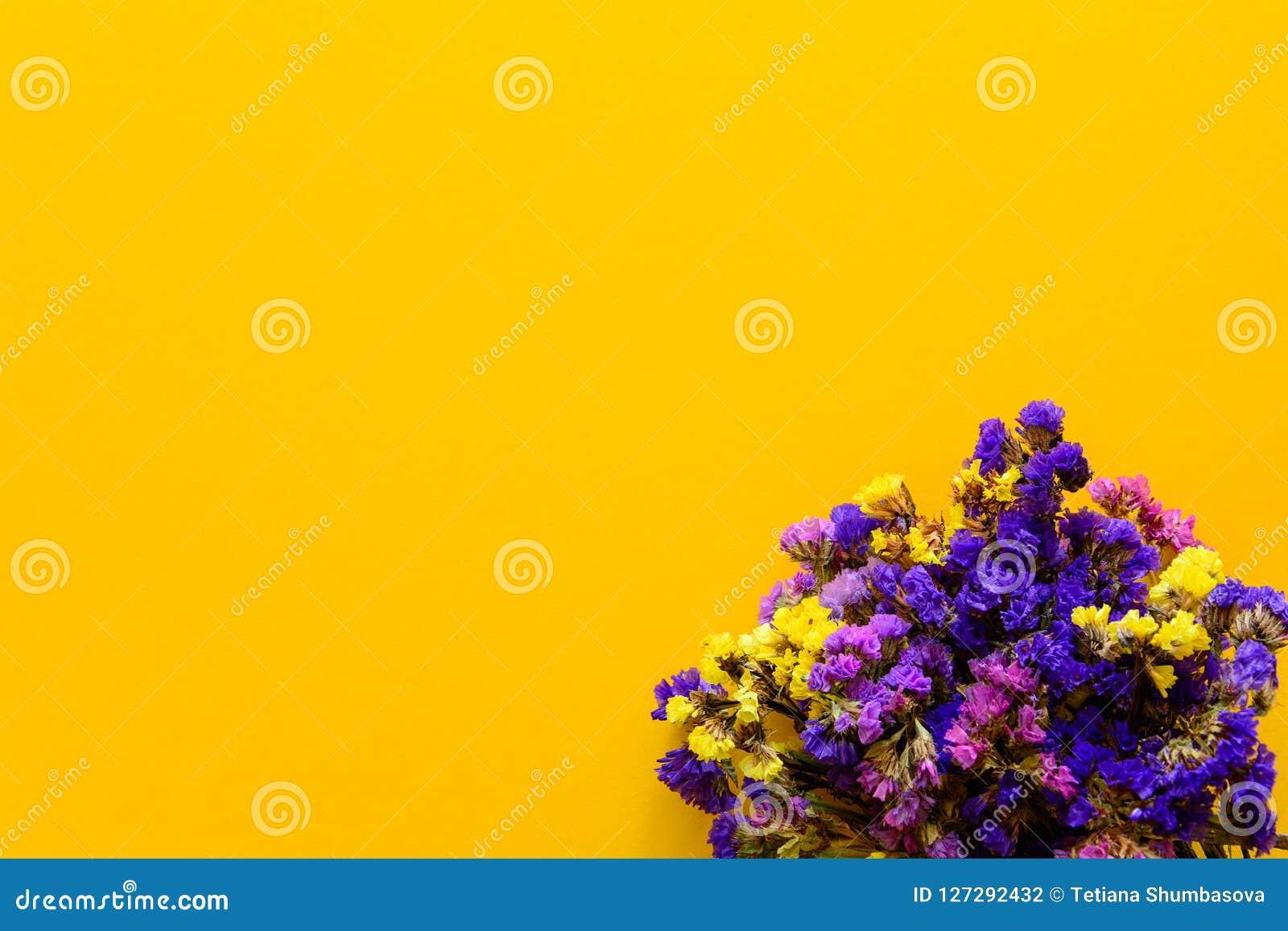 Kleurrijk boeket van droge de herfstbloemen die op gele document achtergrond liggen De ruimte van het exemplaar Vlak leg Hoogste